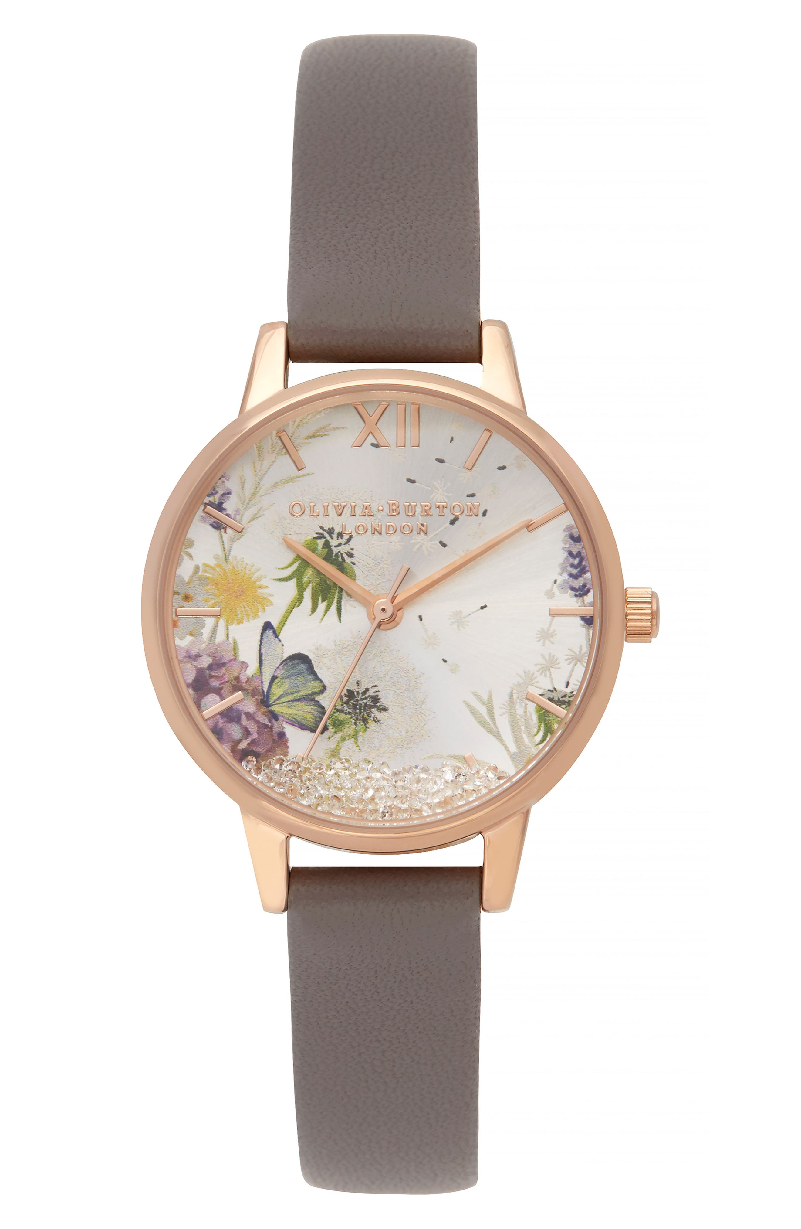 OLIVIA BURTON Wishing Leather Strap Watch, 35Mm in Lond Grey/Silver Flor/Rosegold