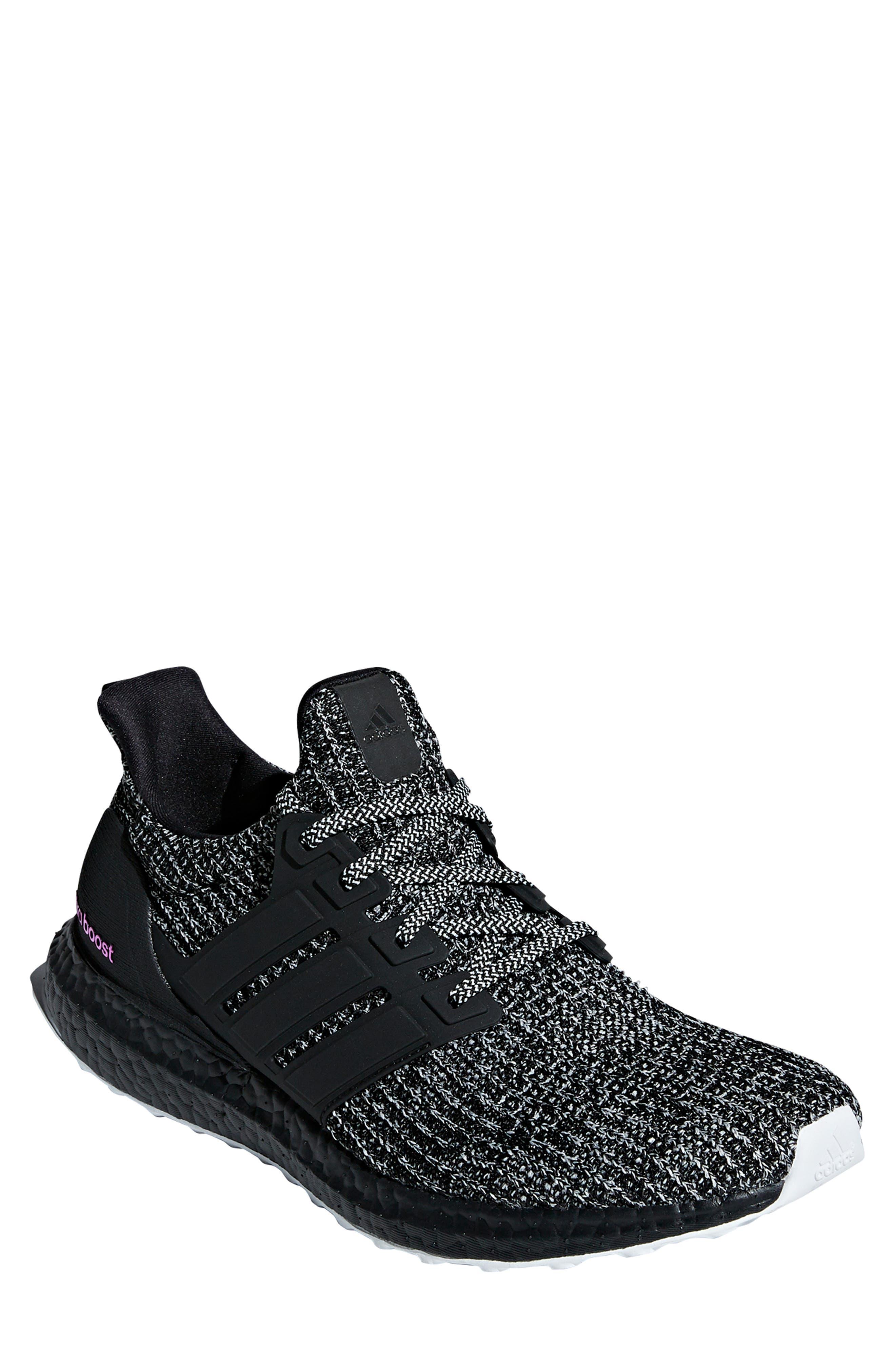 'UltraBoost' Running Shoe,                         Main,                         color, CLOUD WHITE/ BLACK/ SHOCK PINK