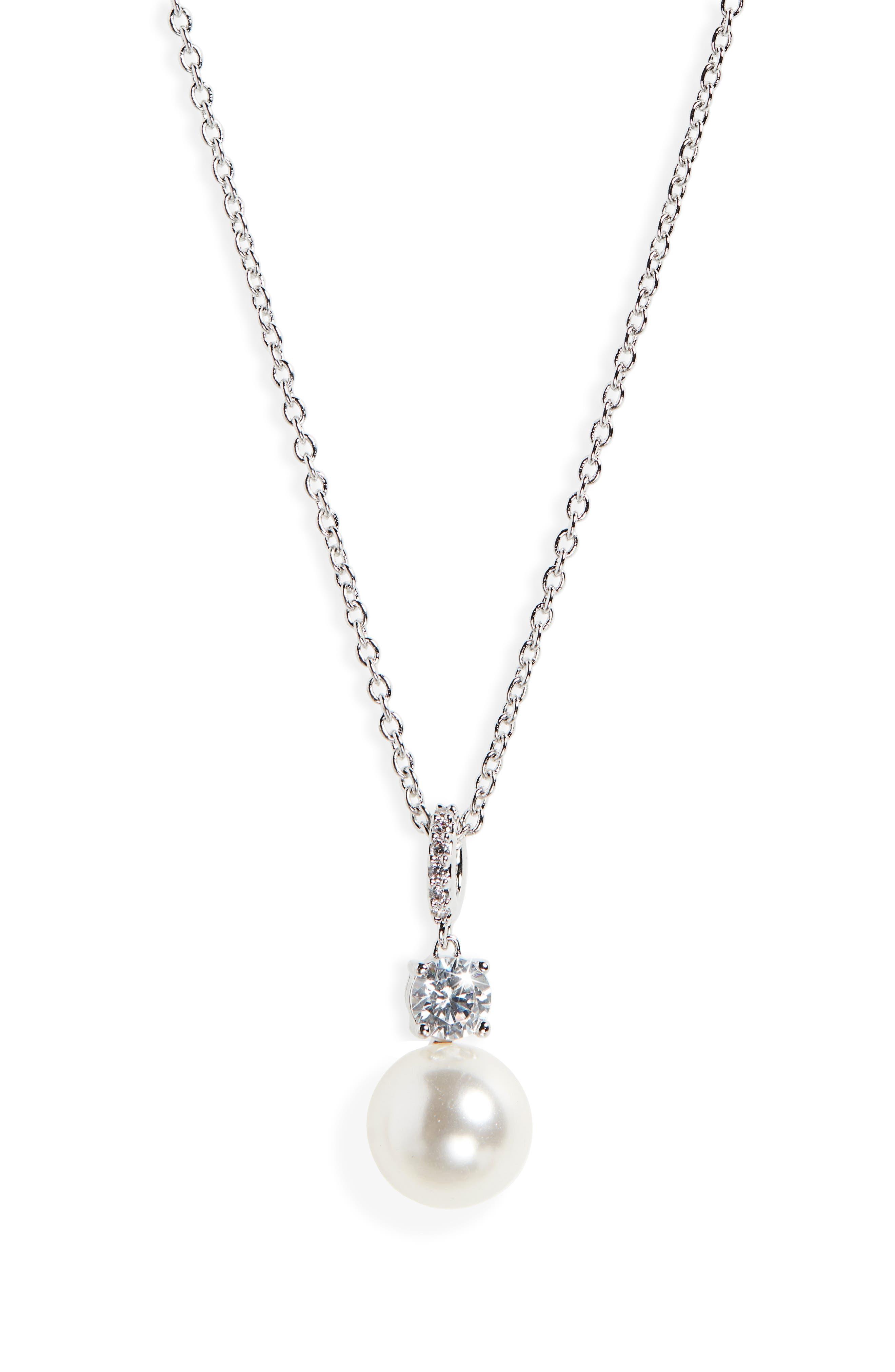 NADRI Imitation Pearl Pendant Necklace in White
