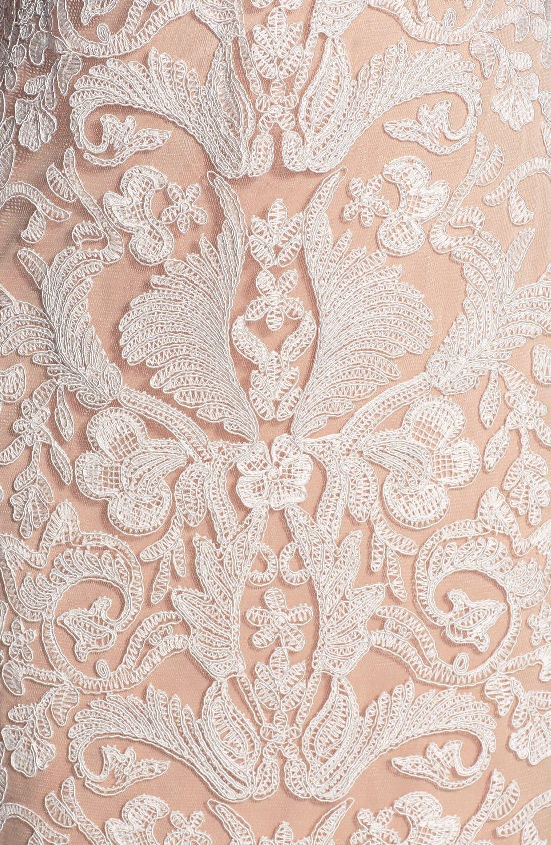 Illusion Yoke Lace Sheath Dress,                             Alternate thumbnail 28, color,