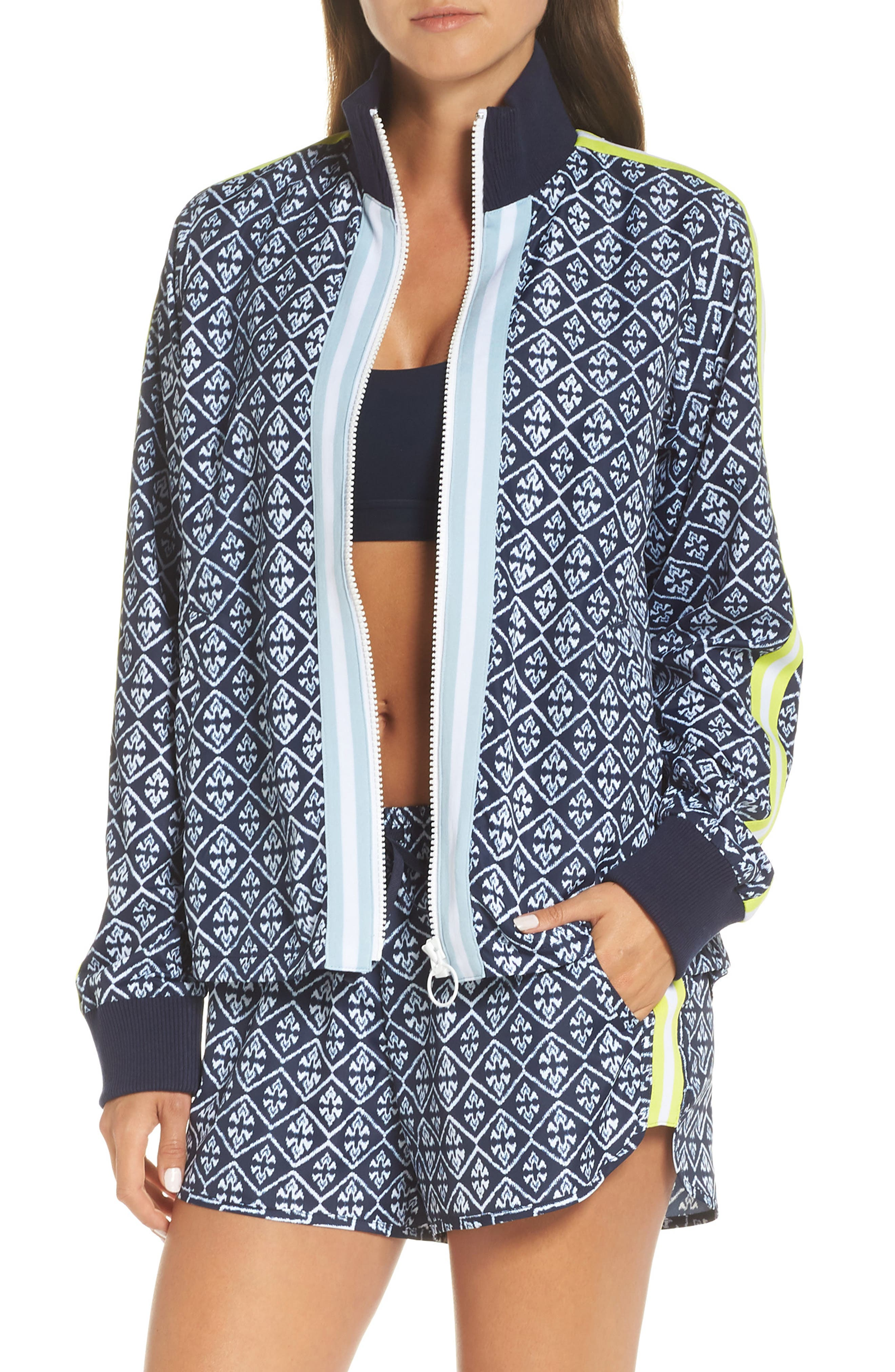 Ikat Neon Running Shorts,                             Alternate thumbnail 8, color,                             INDIGO/ WHITE