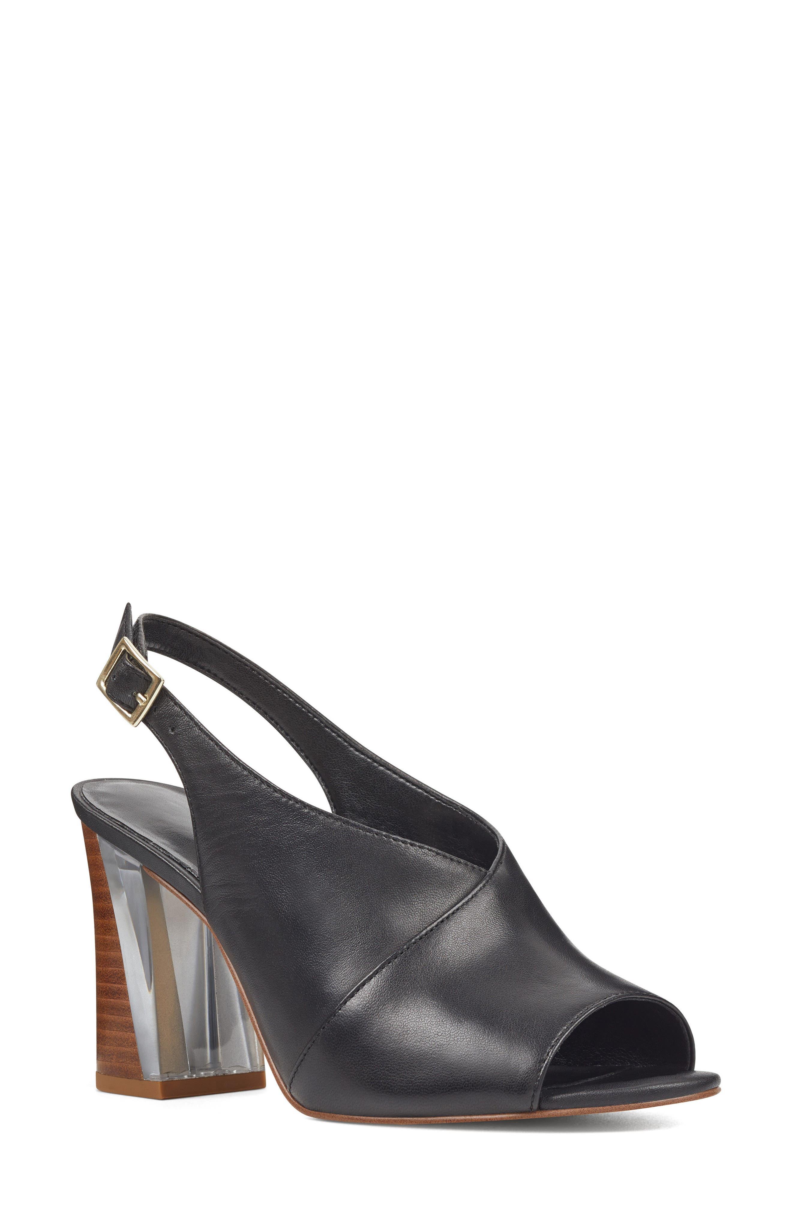 Morenzo Slingback Sandal,                         Main,                         color, BLACK LEATHER