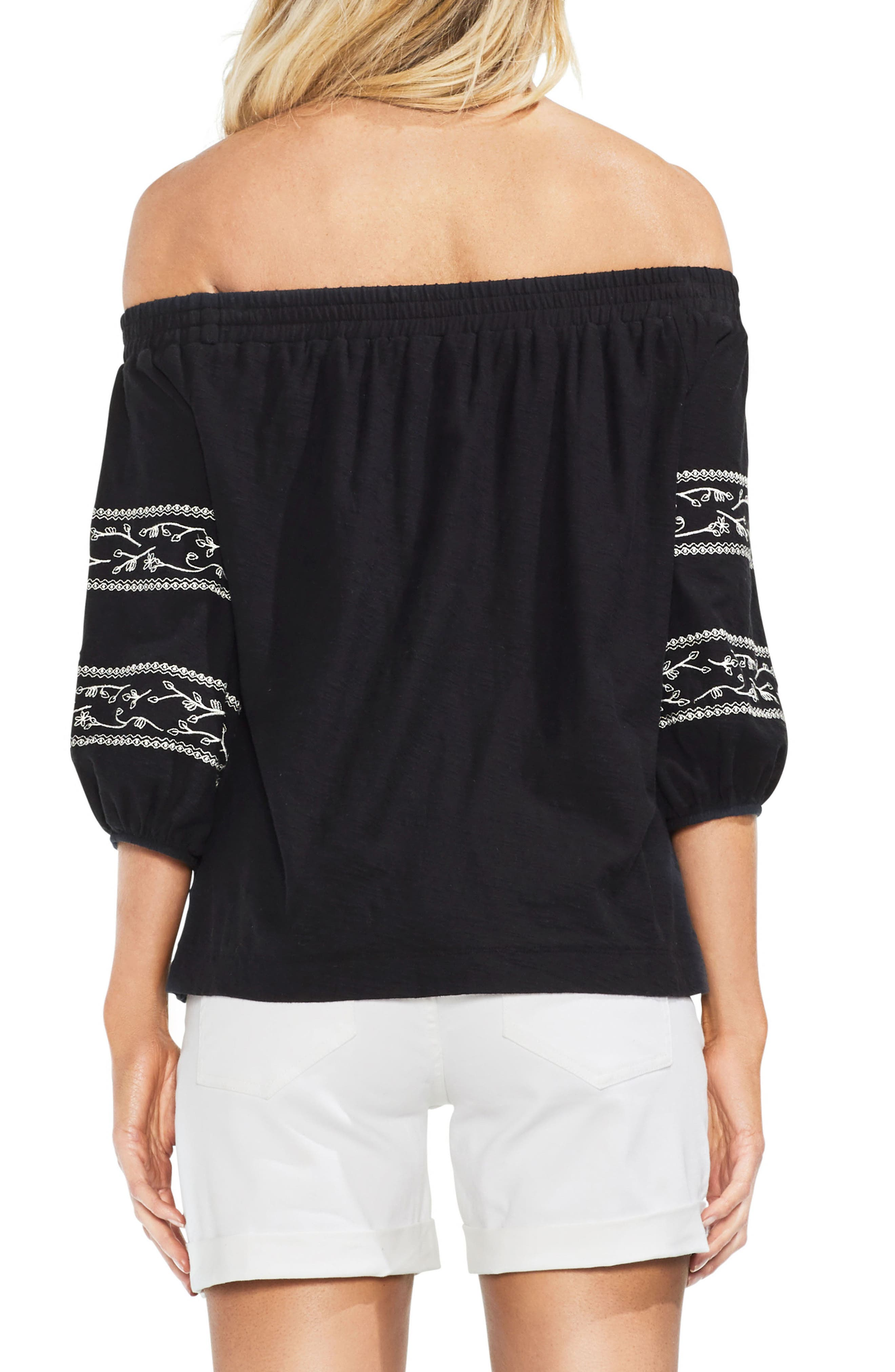 Embroidered Off the Shoulder Top,                             Alternate thumbnail 2, color,                             001
