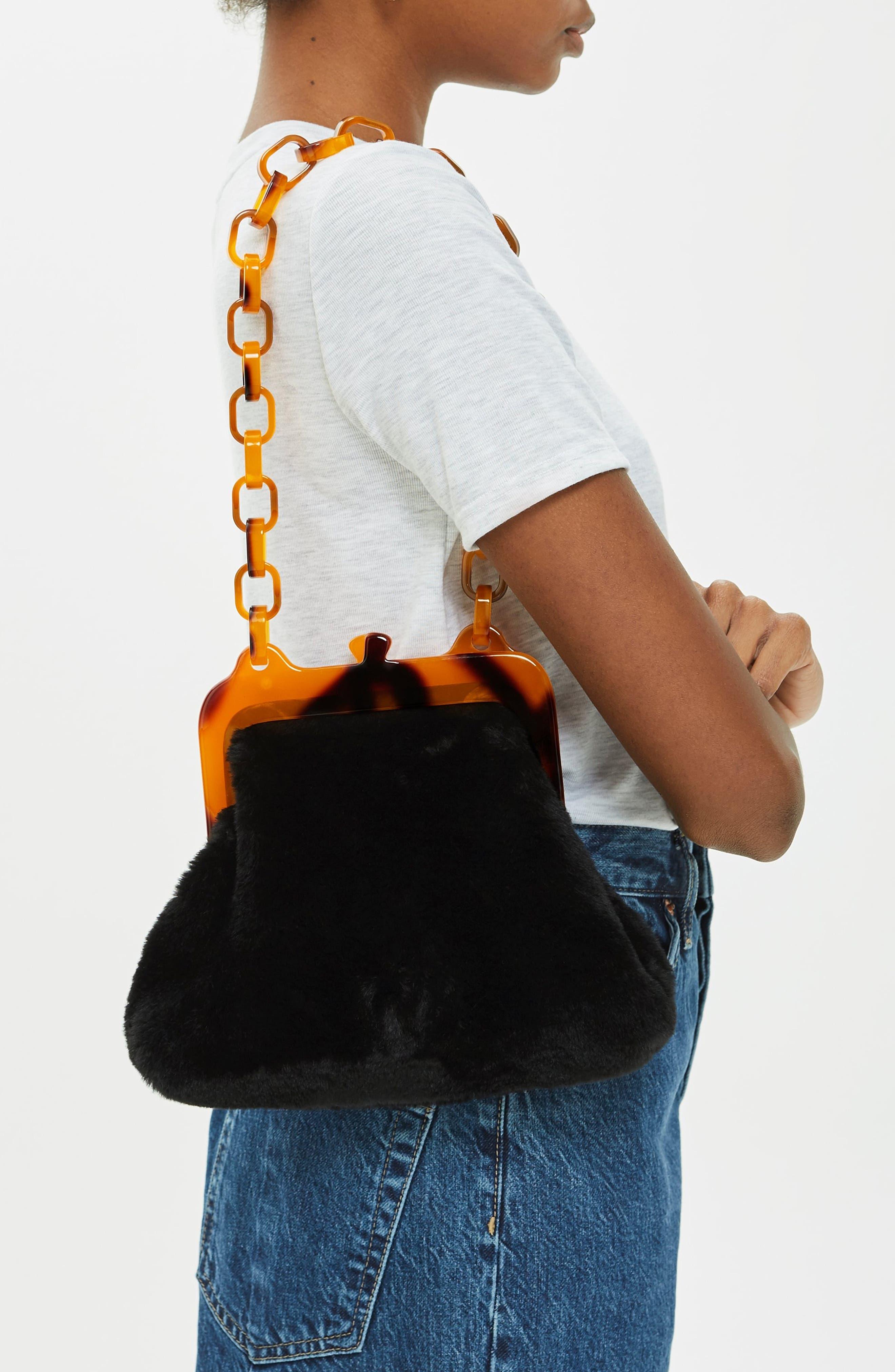 Faux Fur Frame Bag,                             Alternate thumbnail 2, color,                             BLACK