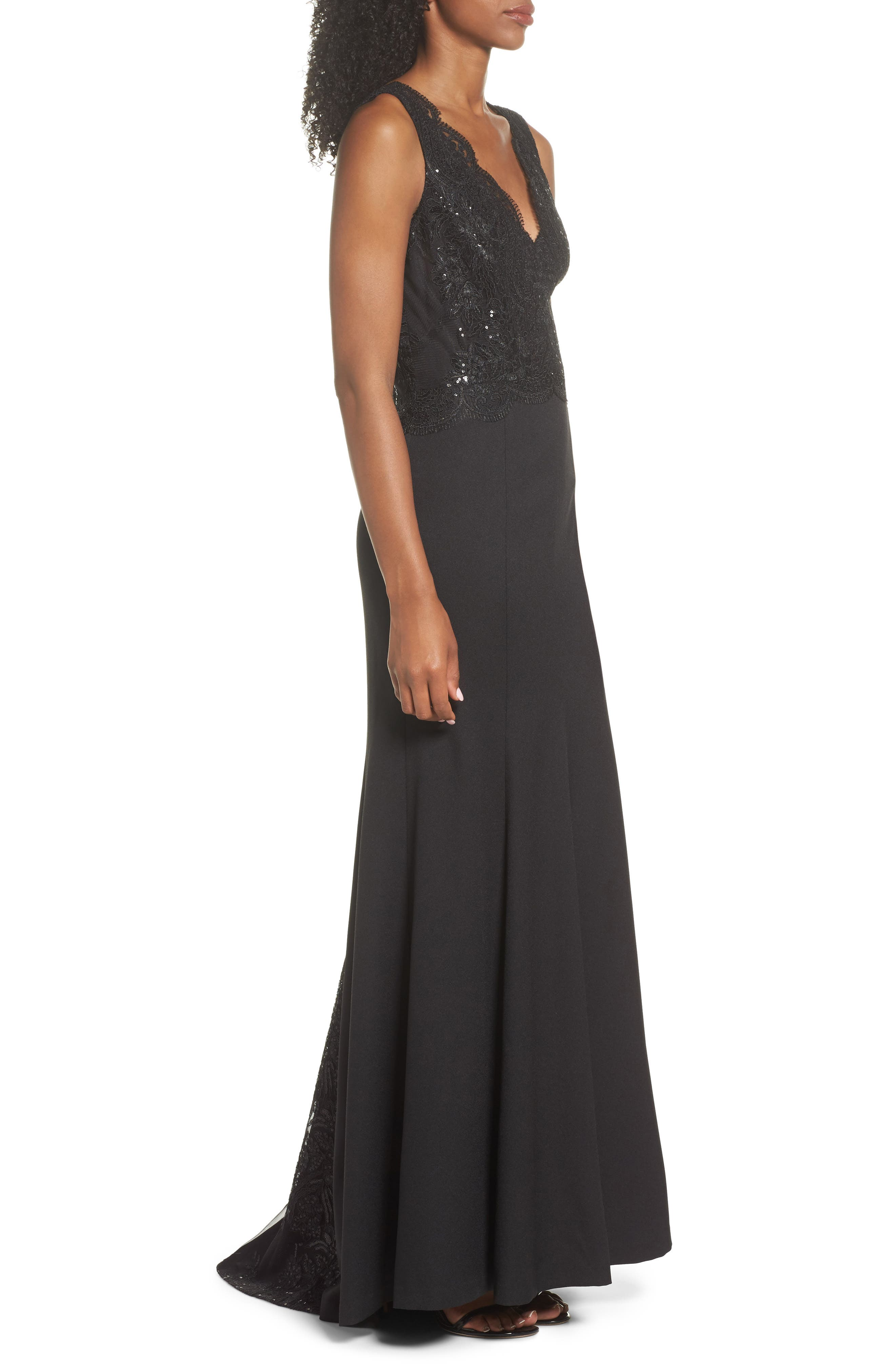 Lace & Crepe Mermaid Gown,                             Alternate thumbnail 3, color,                             001