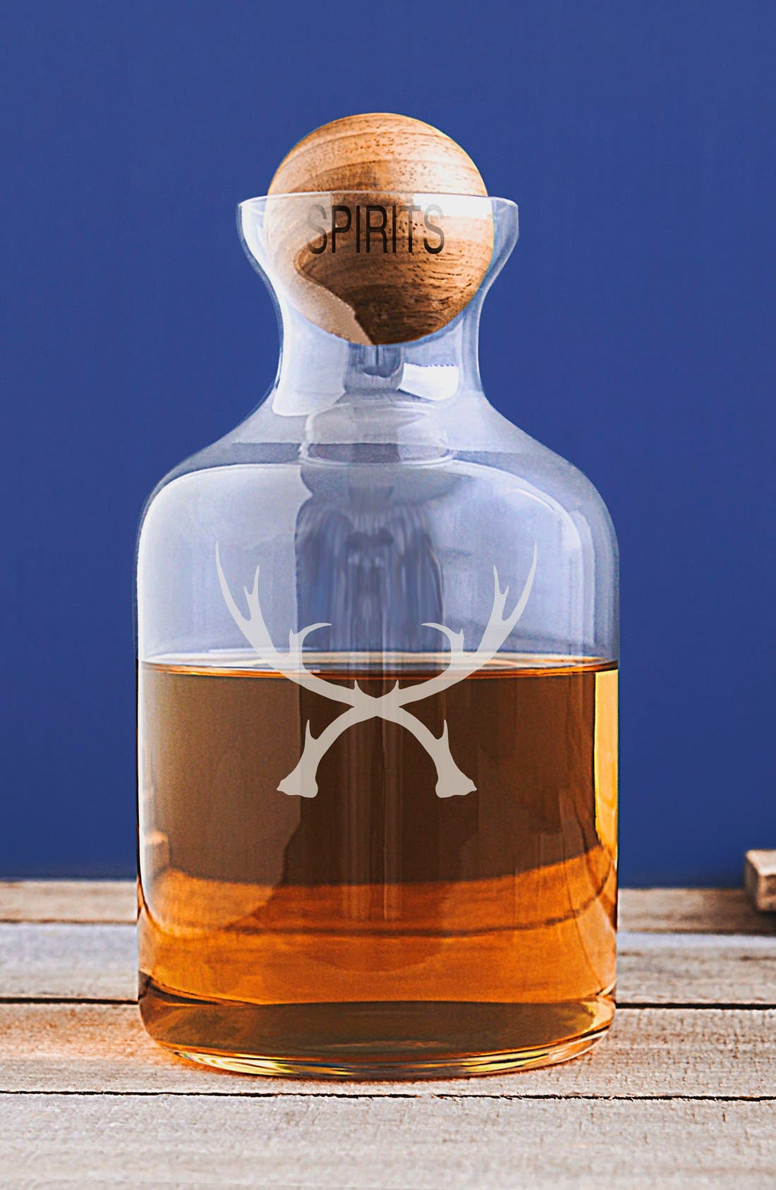 CATHY'S CONCEPTS,                             'Antlers' Glass Decanter & Wood Stopper,                             Alternate thumbnail 3, color,                             BROWN