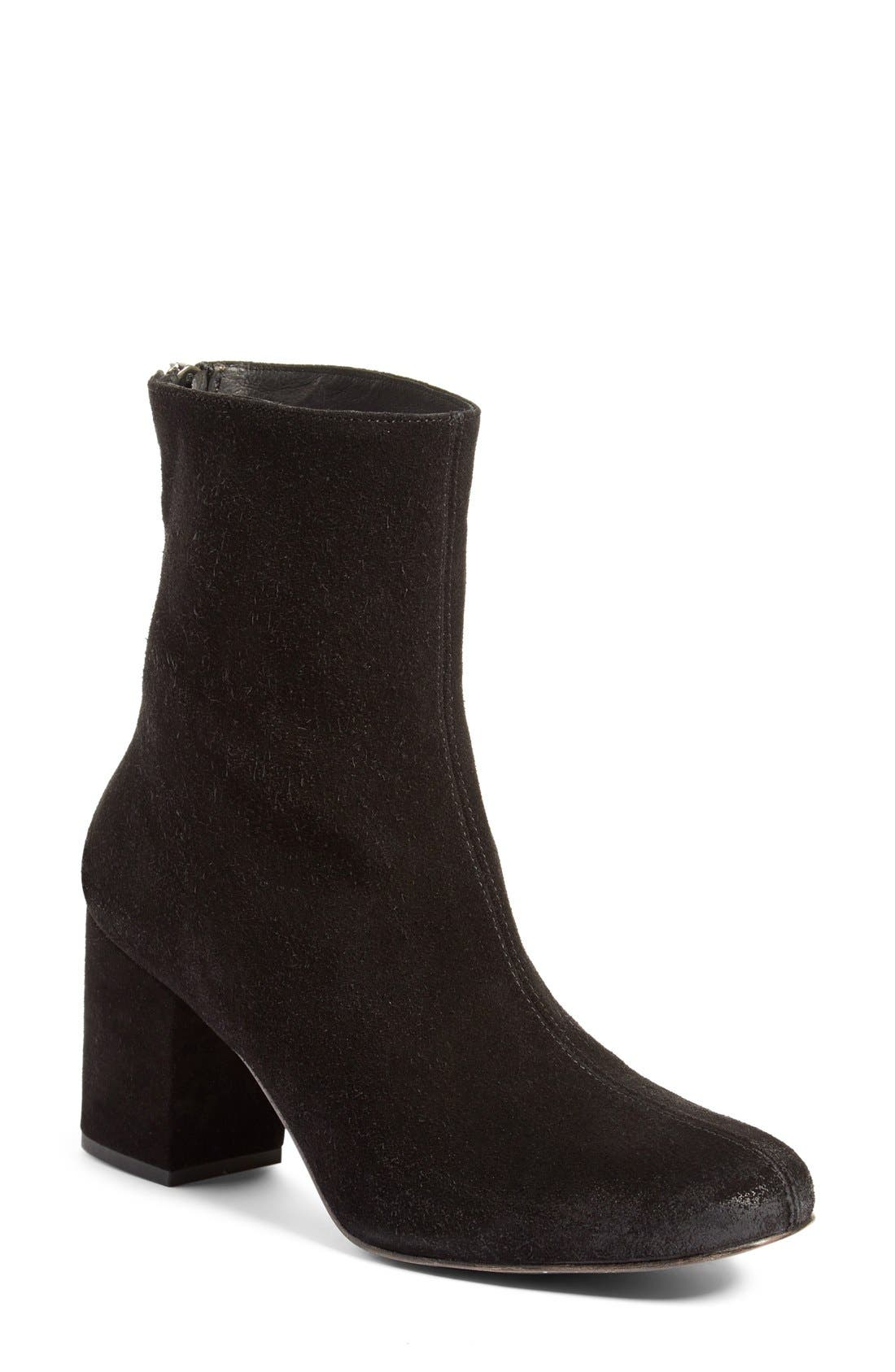 Cecile Block Heel Bootie,                         Main,                         color, BLACK SUEDE