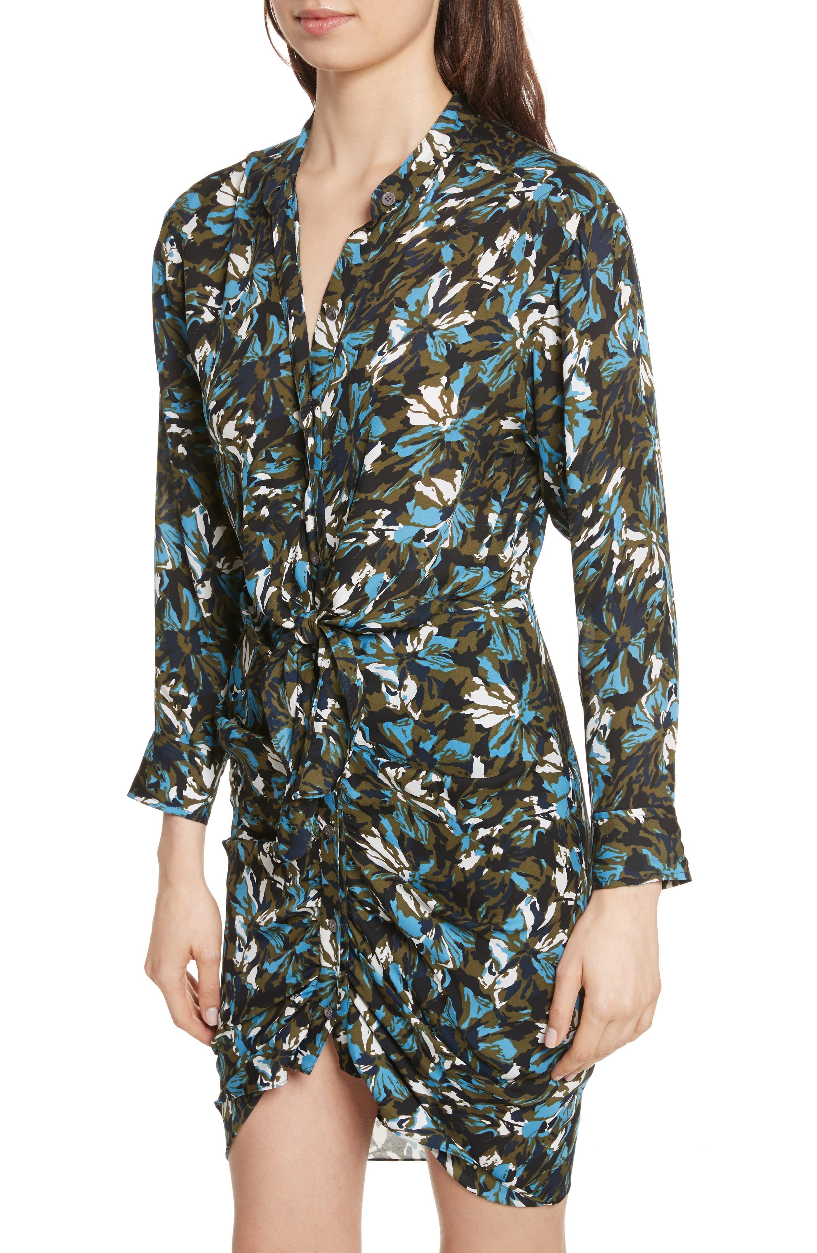 Georgina Floral Print Silk Dress,                             Alternate thumbnail 4, color,                             414