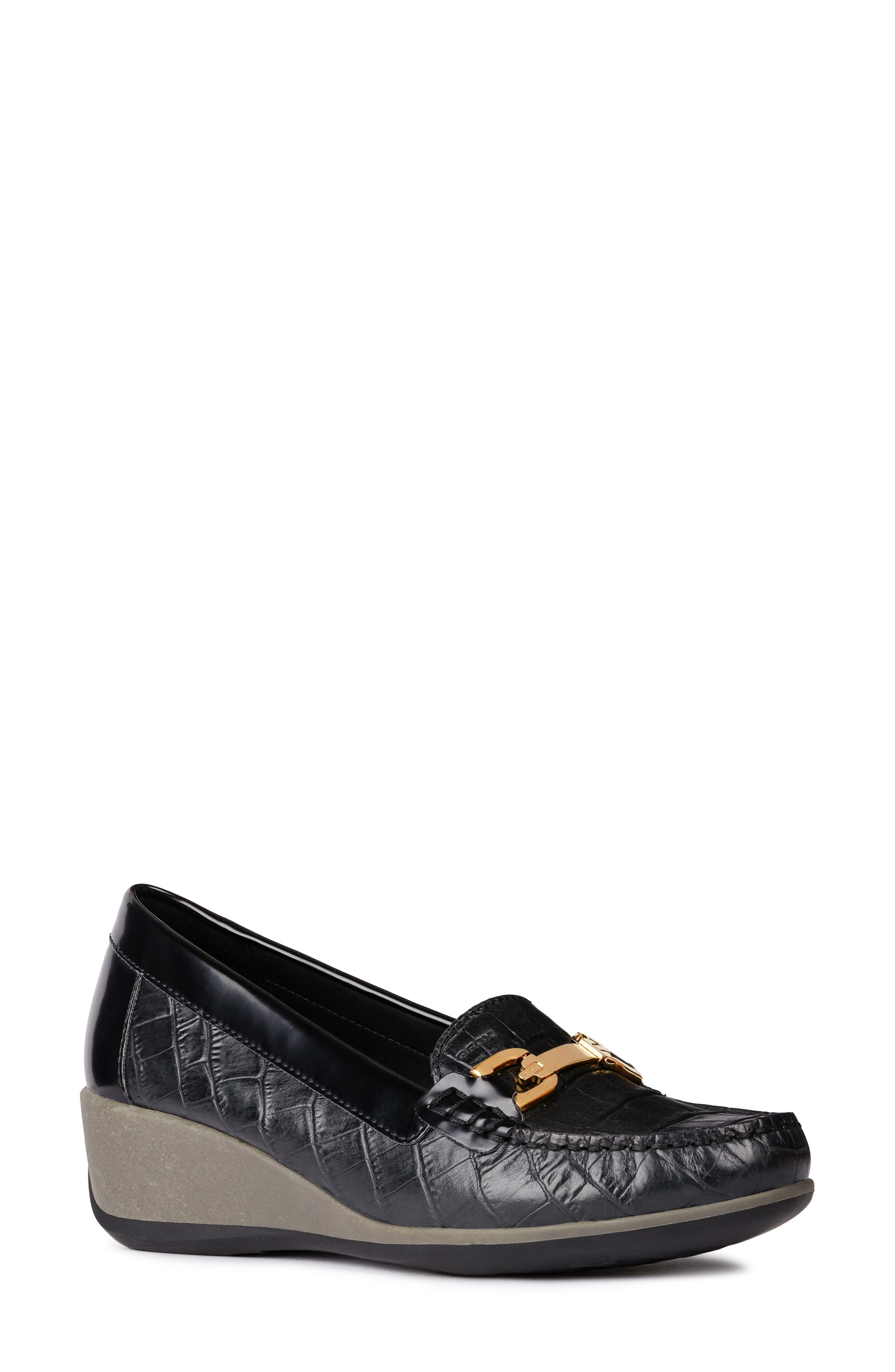 Arethea Loafer Wedge,                         Main,                         color, BLACK LEATHER