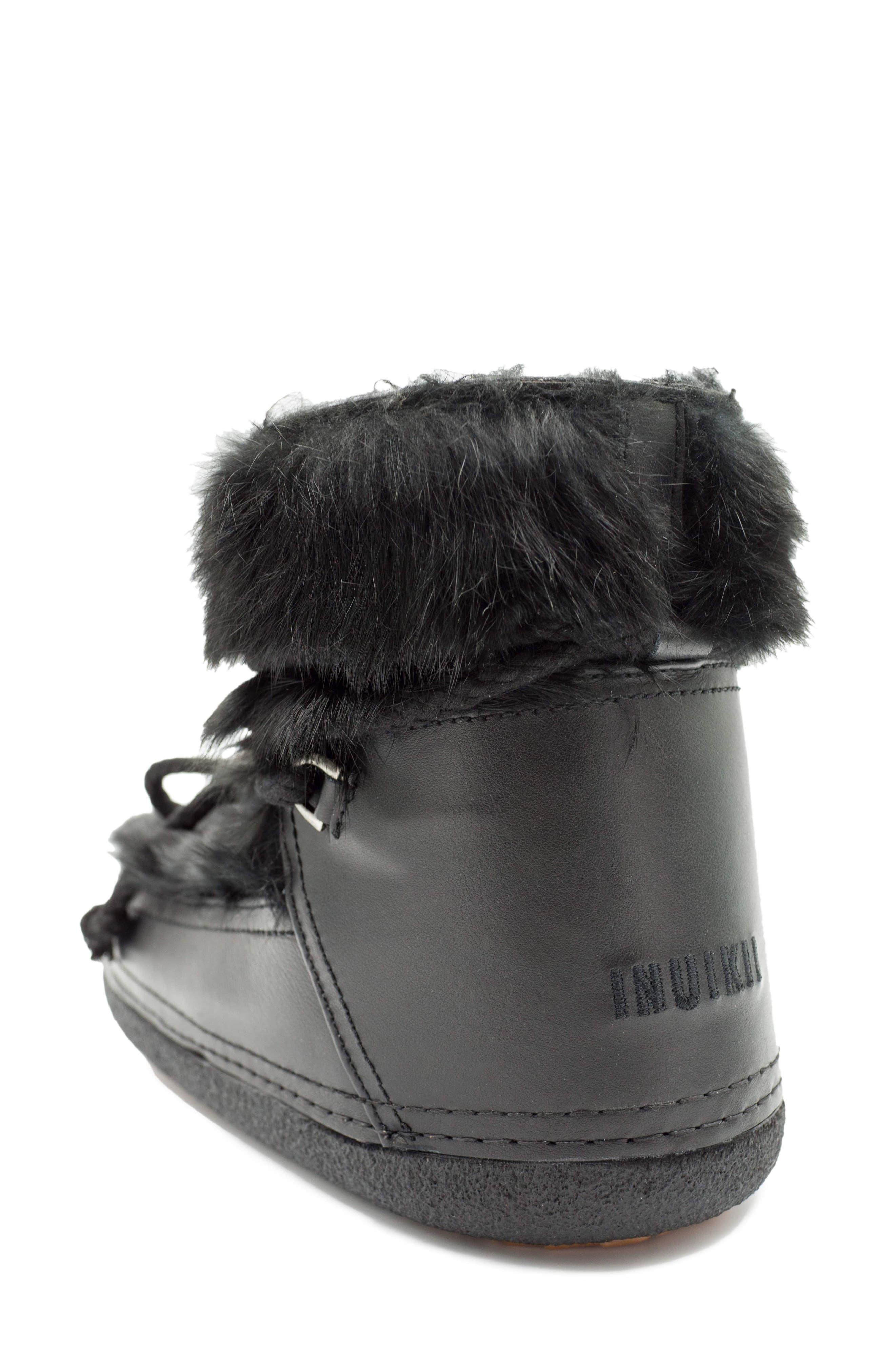 Genuine Rabbit Fur & Leather Bootie,                             Alternate thumbnail 2, color,                             BLACK