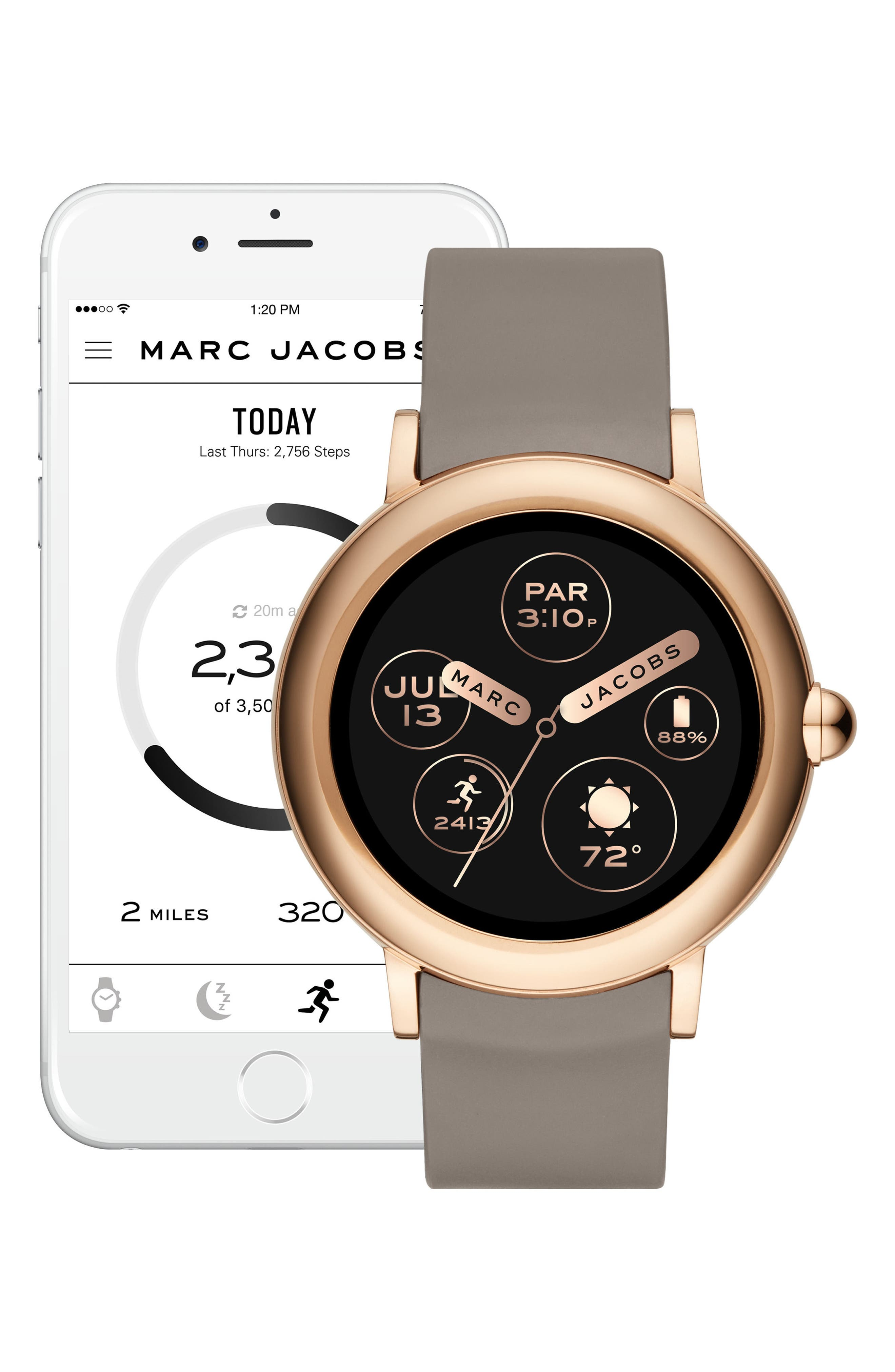 Riley Silcone Strap Smart Watch, 44mm,                             Alternate thumbnail 6, color,                             TAUPE/ ROSE GOLD