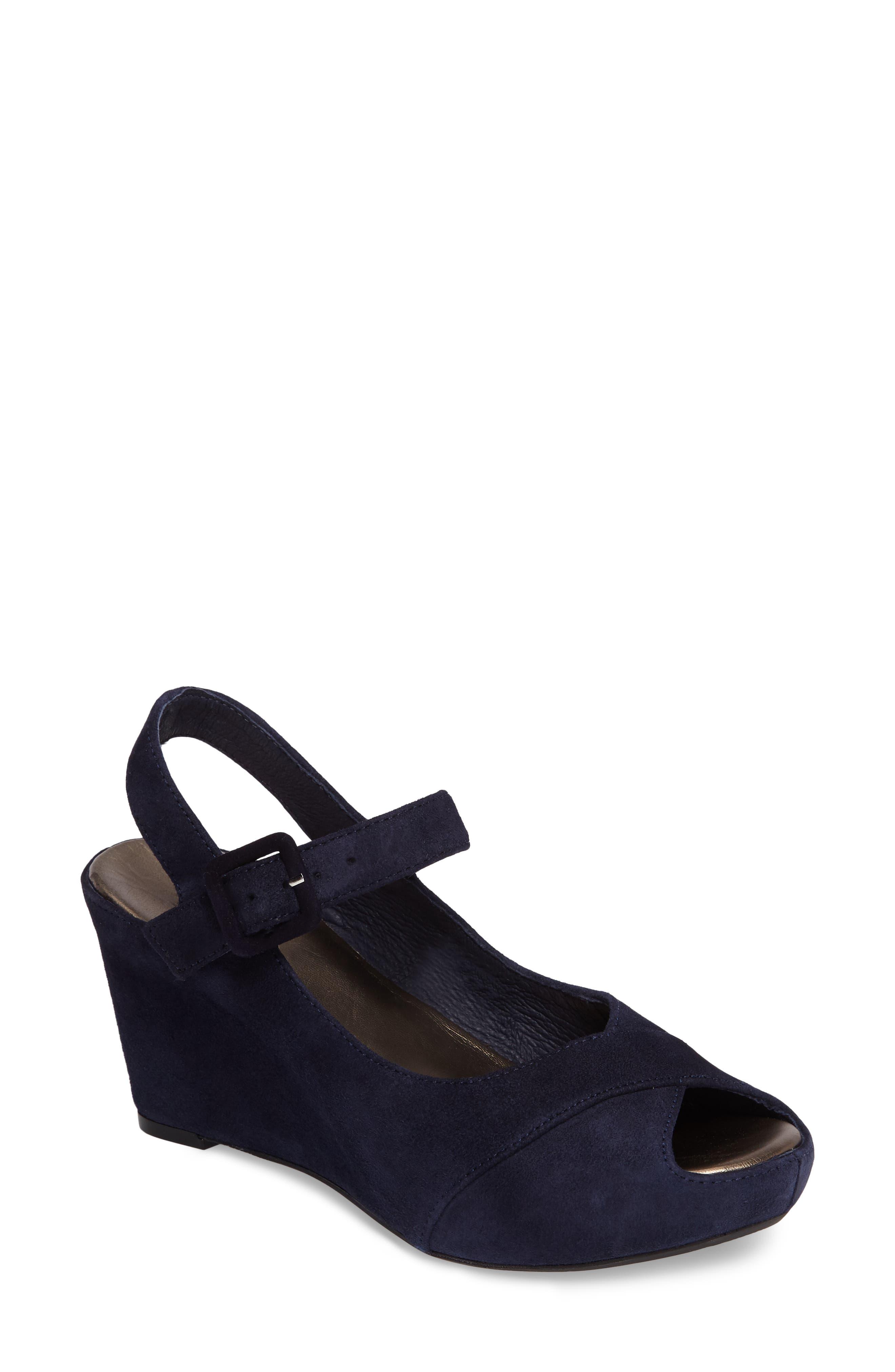 Tara Platform Wedge Sandal,                         Main,                         color, NAVY SUEDE