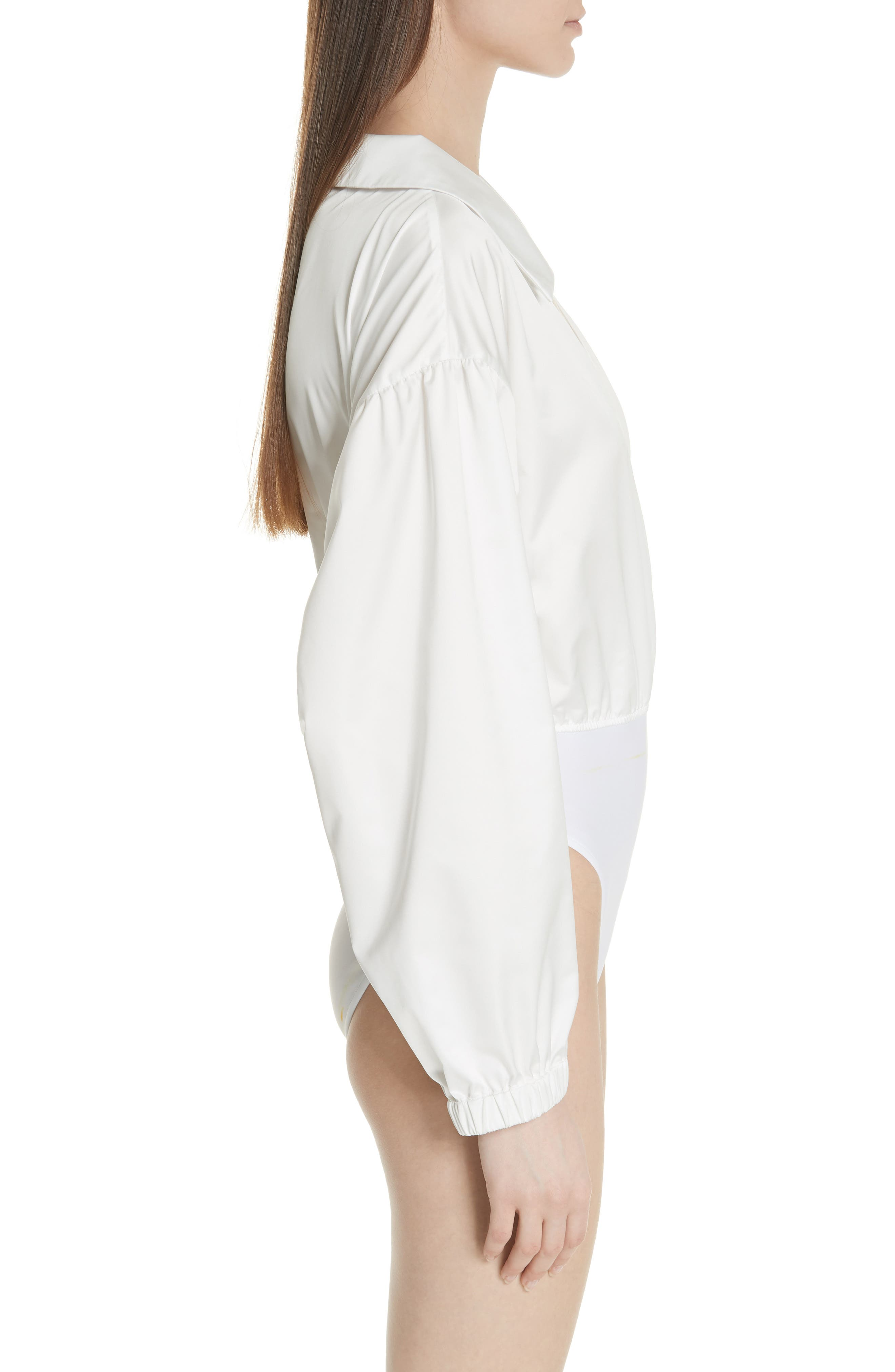 MILLY,                             Italian Duchess Taffeta Wrap Top Bodysuit,                             Alternate thumbnail 3, color,                             150