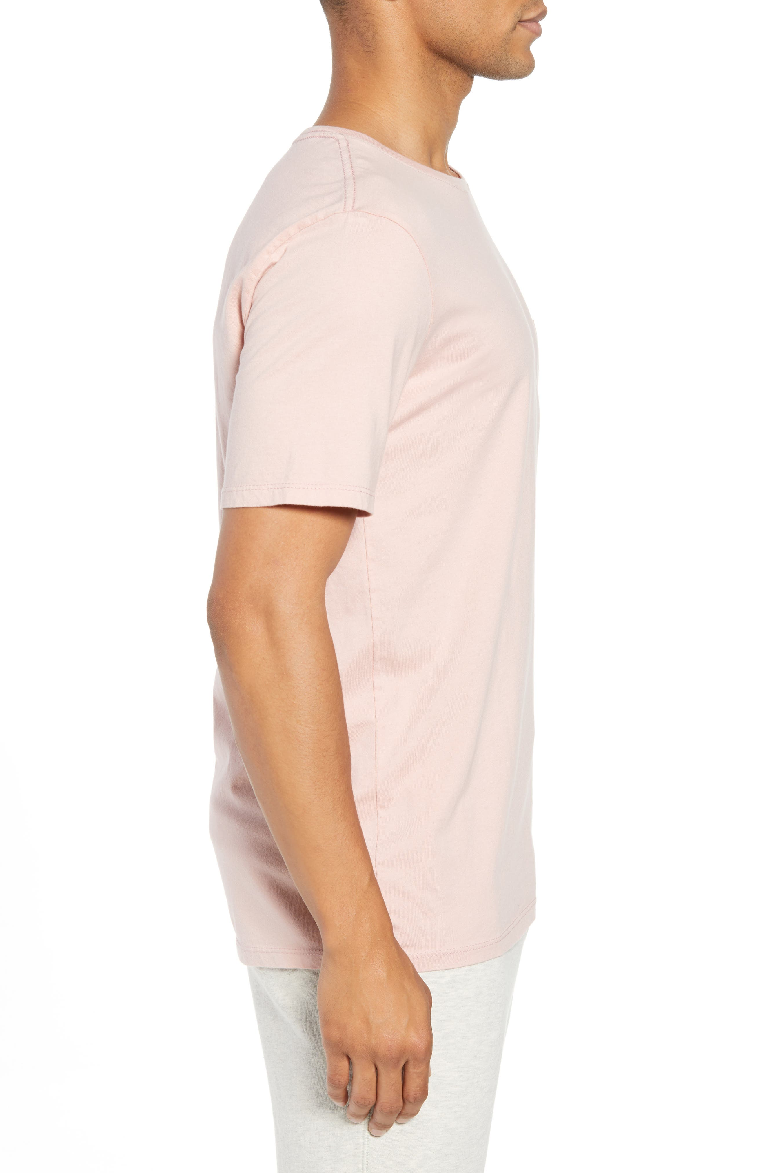 Crewneck Cotton T-Shirt,                             Alternate thumbnail 3, color,                             BLUSH