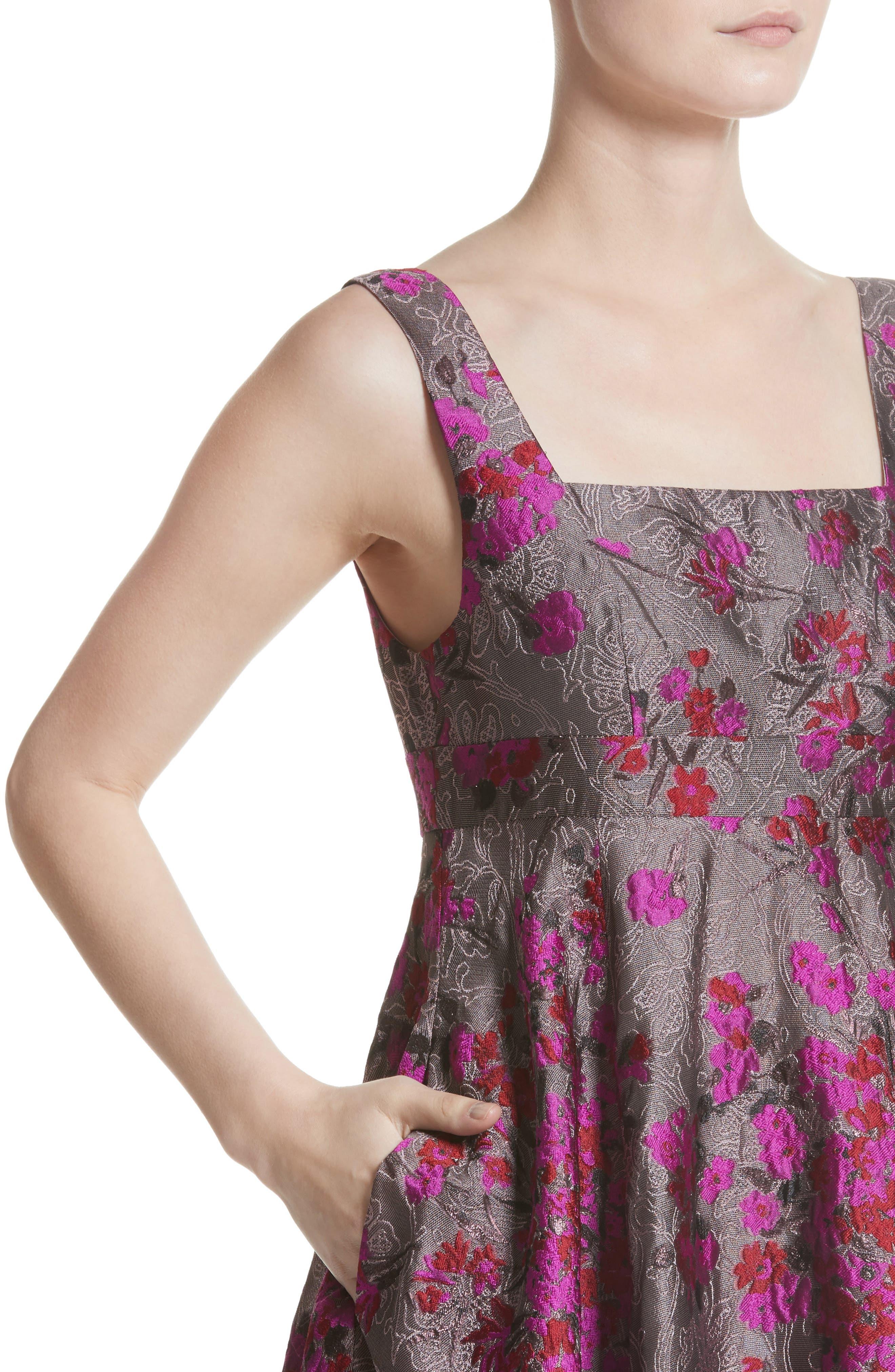 Metallic Jacquard Midi Dress,                             Alternate thumbnail 4, color,                             651