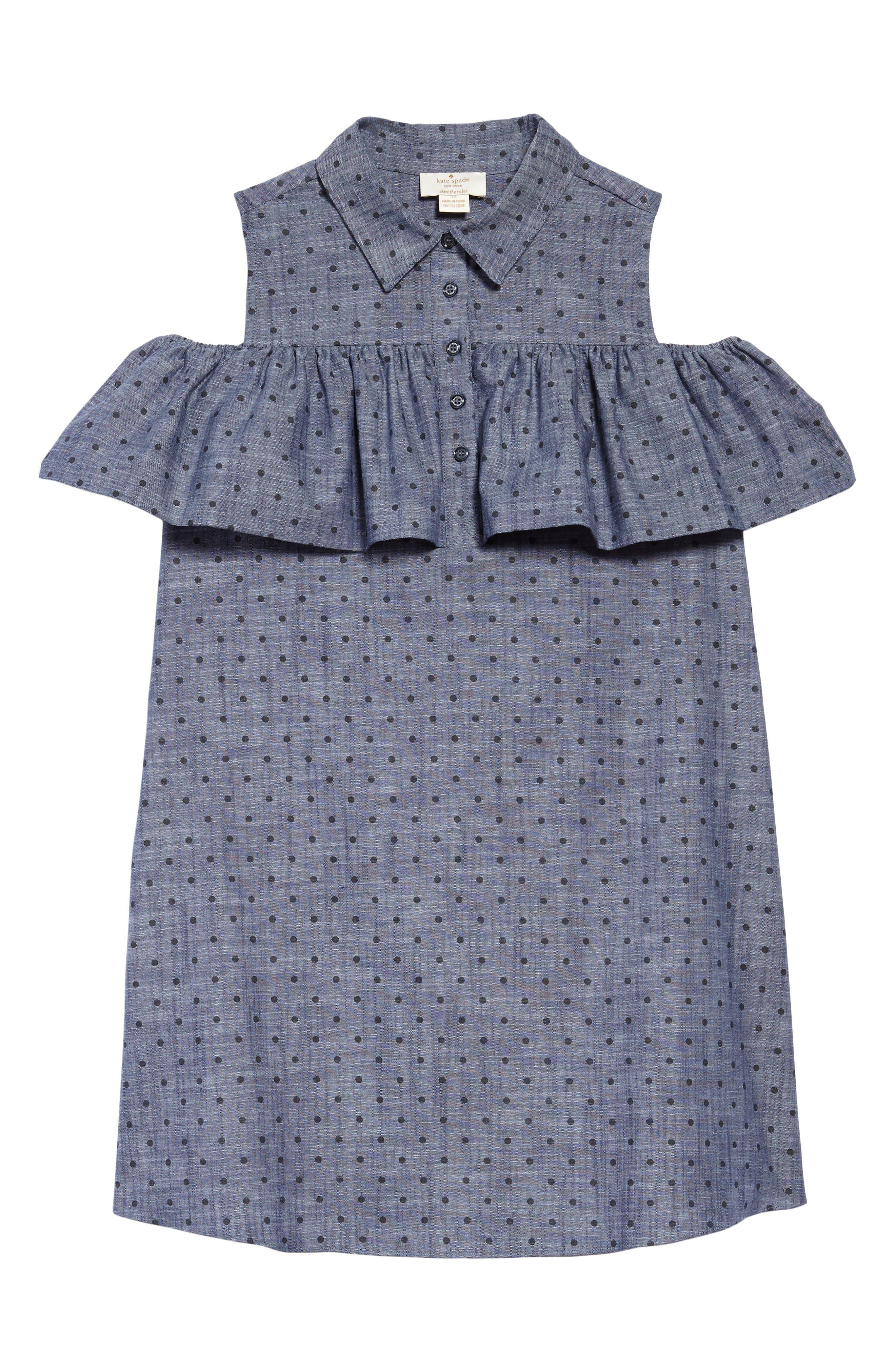 ruffle dot chambray dress,                         Main,                         color, 404