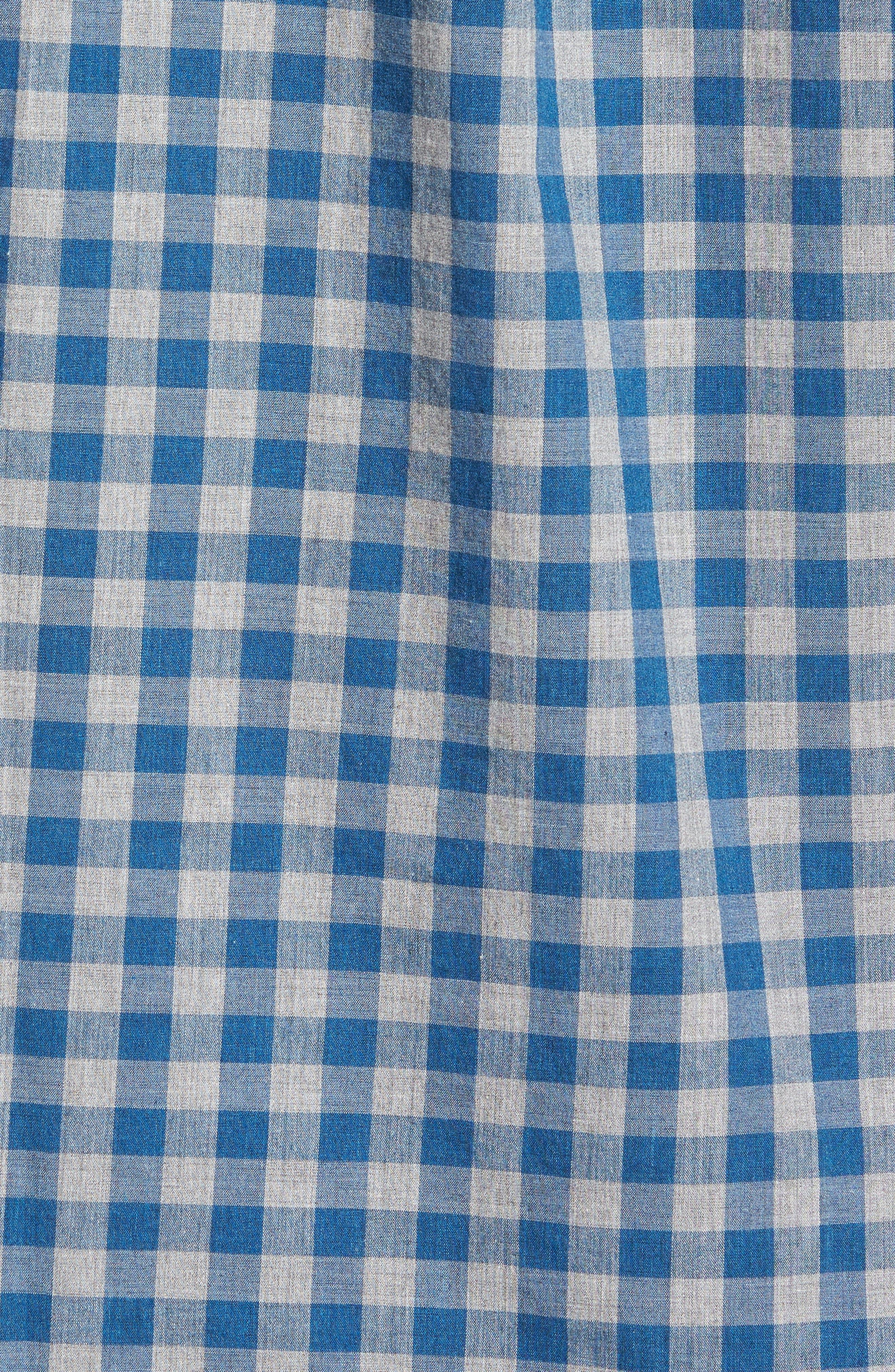 Slim Fit Stretch Secret Wash Heather Gingham Poplin Shirt,                             Alternate thumbnail 9, color,