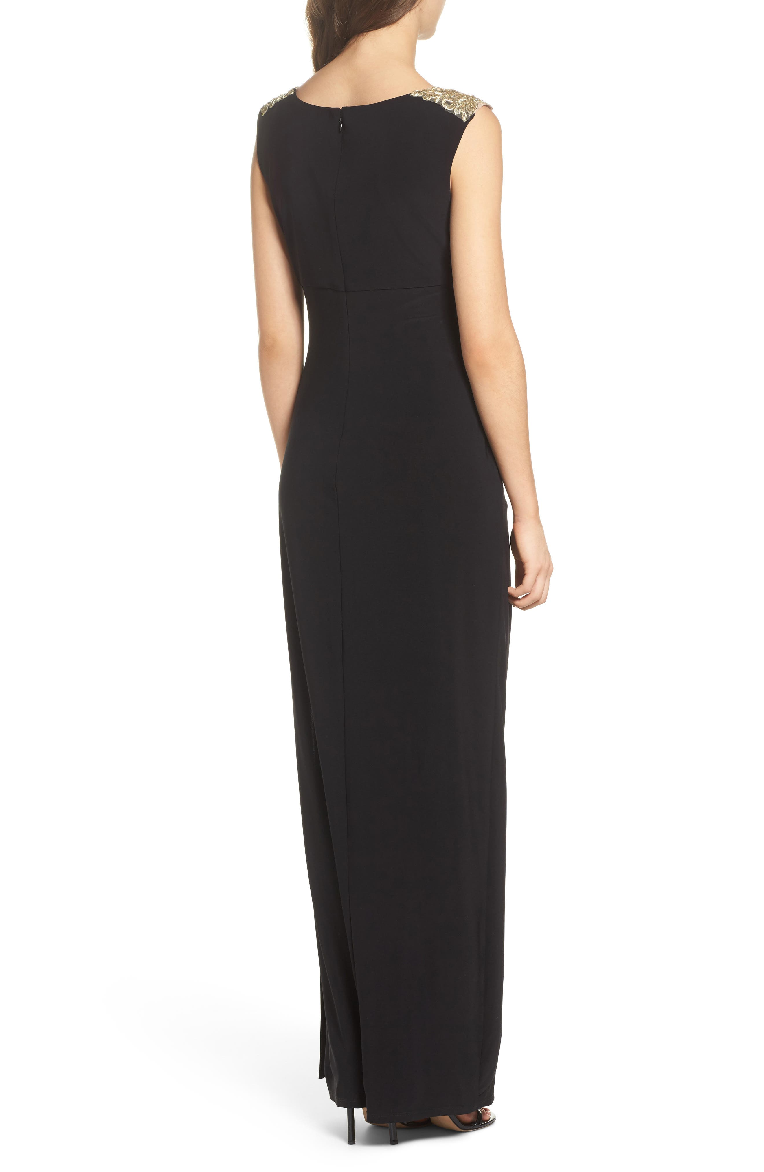 Embroidered Side Ruched Gown,                             Alternate thumbnail 2, color,                             003
