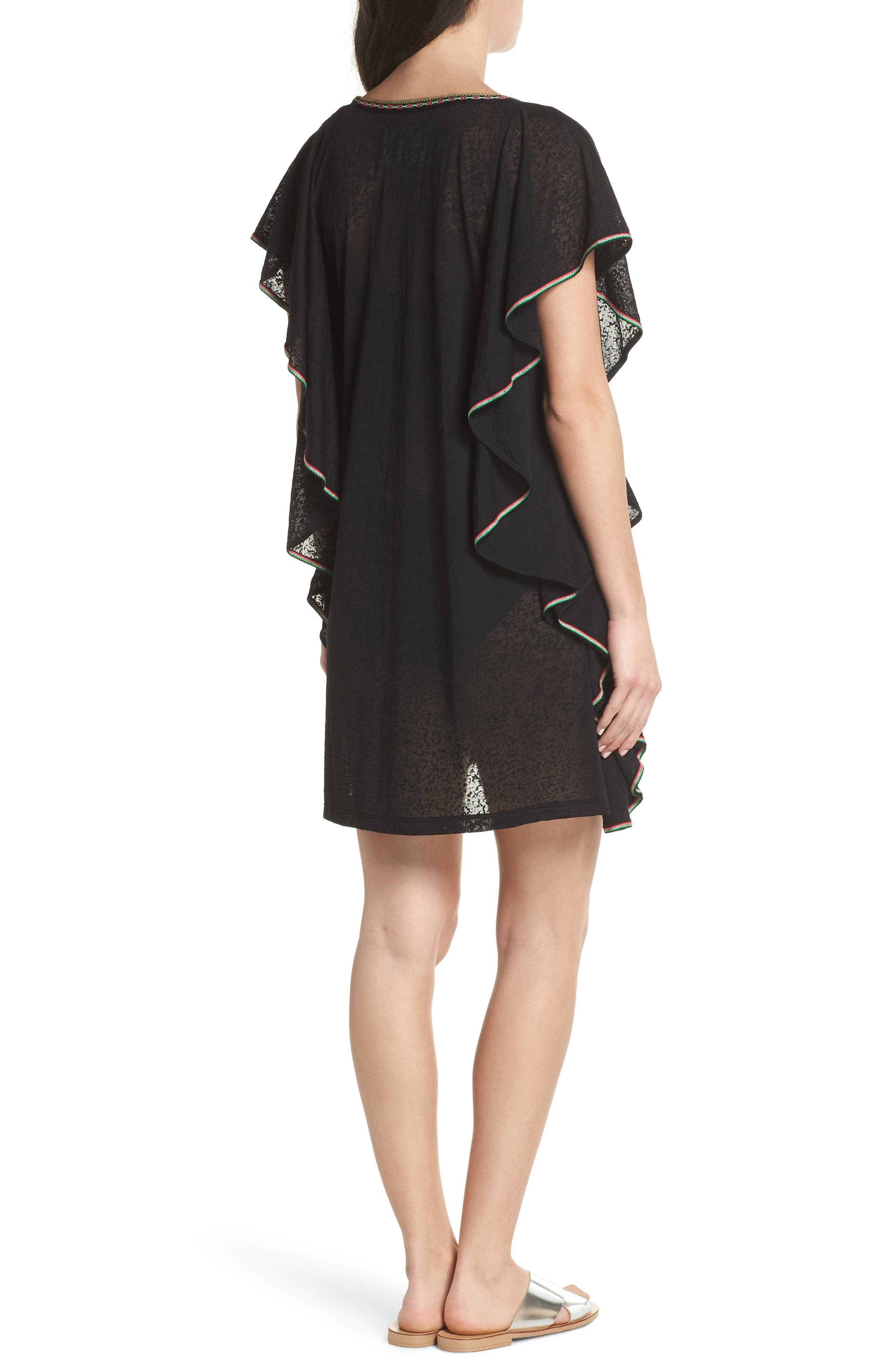 Flare Cover-Up Minidress,                             Alternate thumbnail 2, color,                             001