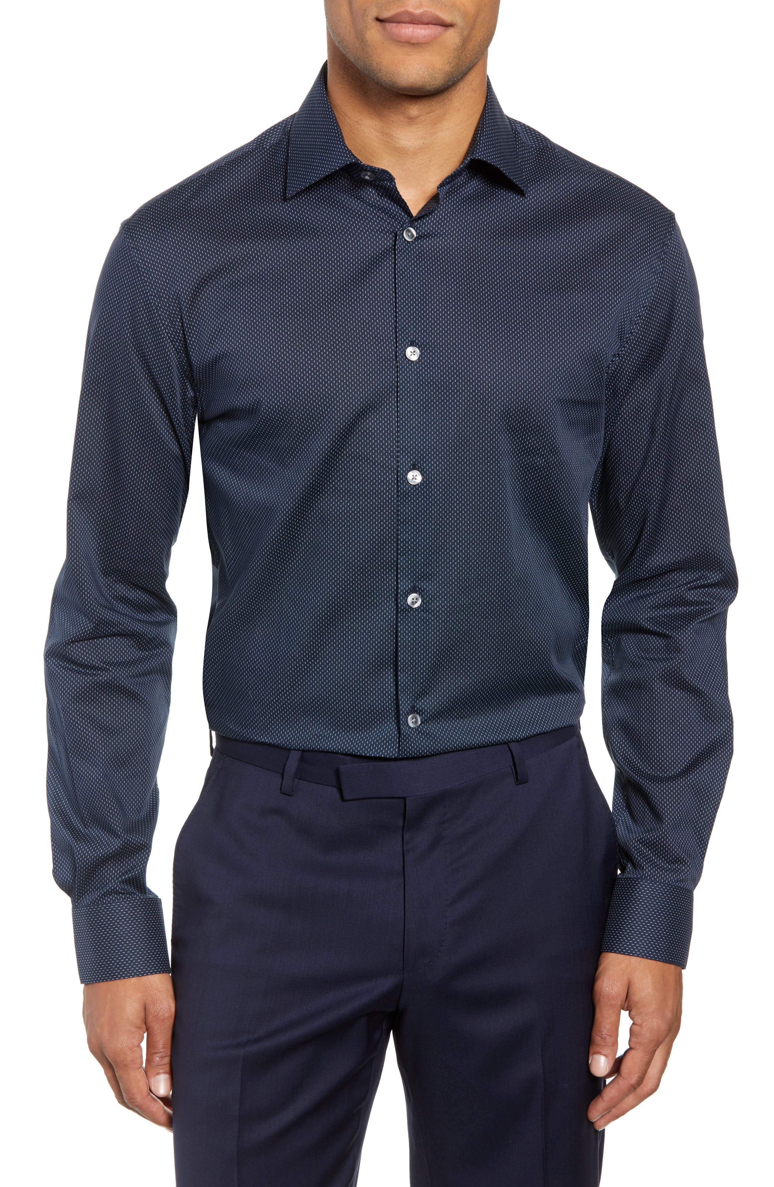 Slim Fit Dot Dress Shirt,                         Main,                         color, INDIGO