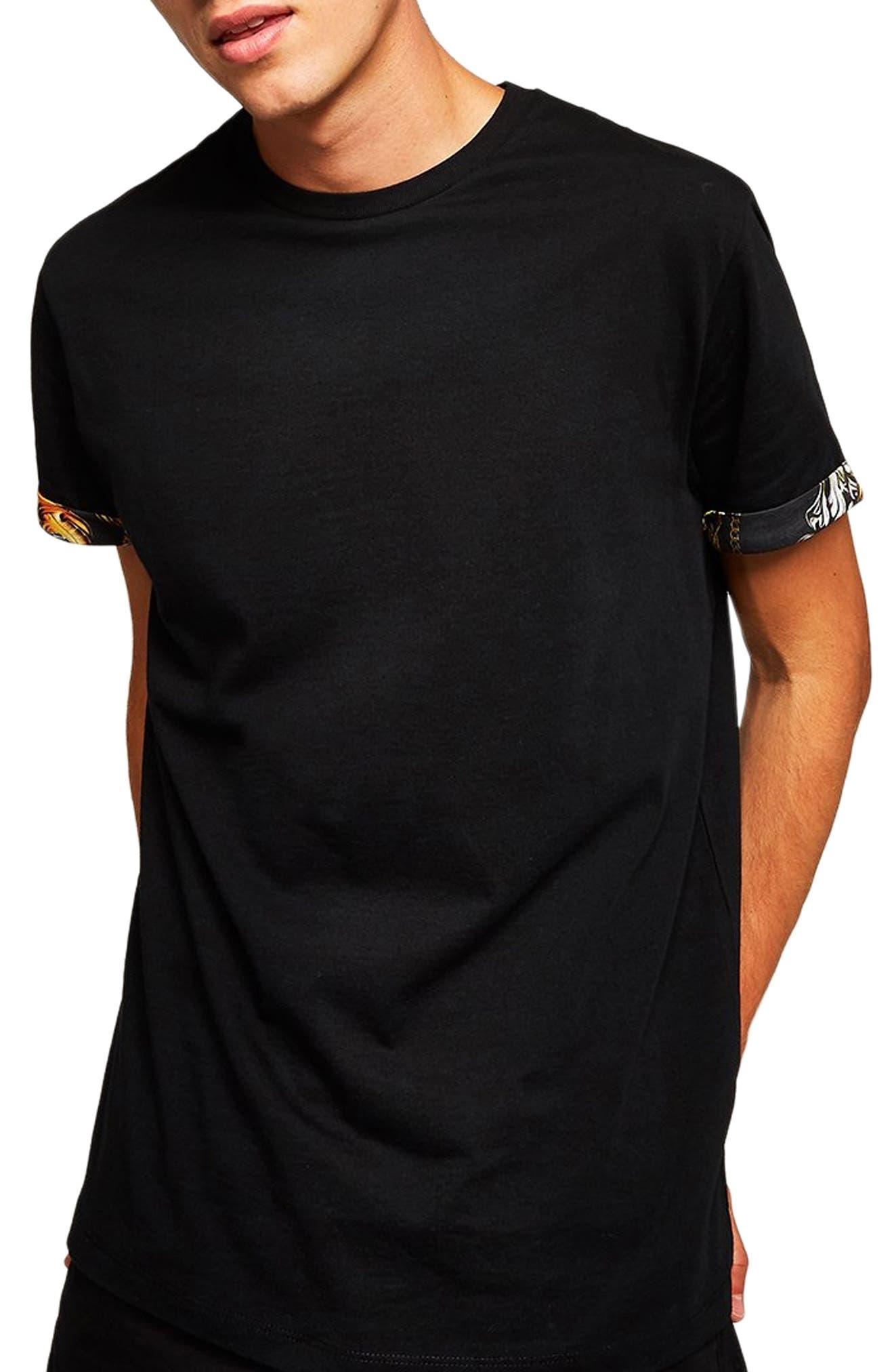 Baroque Trim Roller T-Shirt,                         Main,                         color, BLACK
