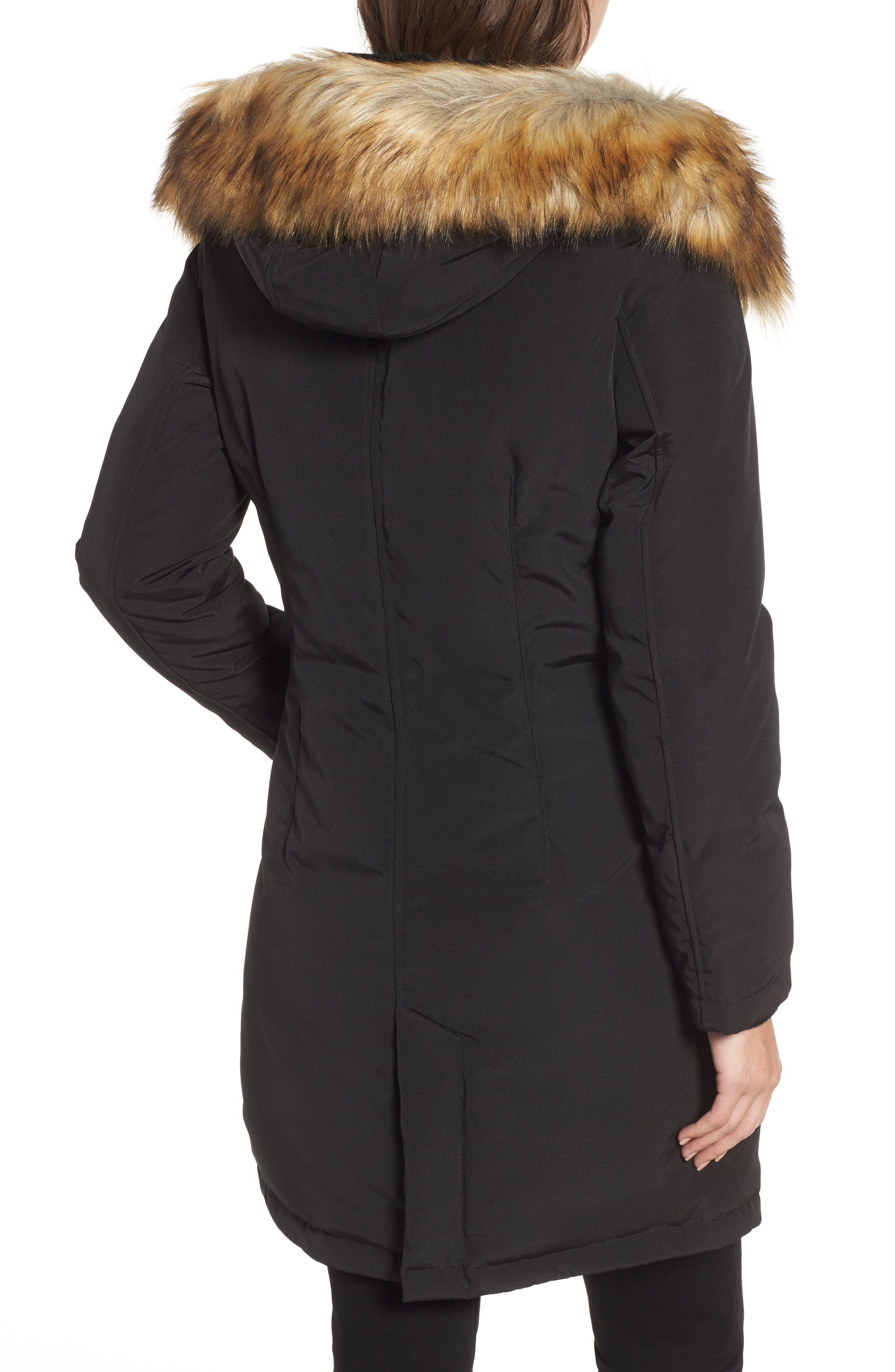 Faux Fur Trim Down Jacket,                             Alternate thumbnail 2, color,                             BLACK