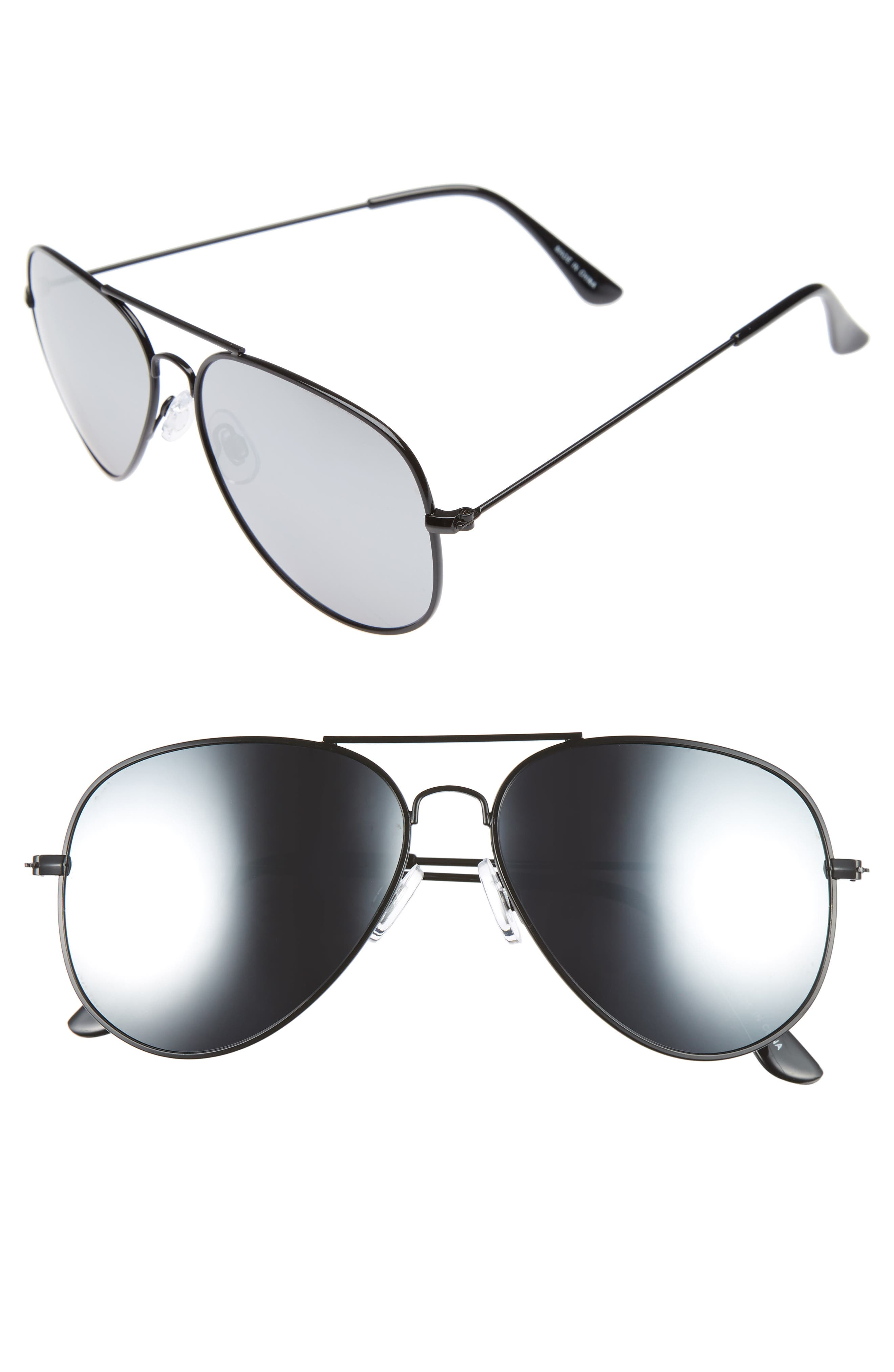 Mirrored Aviator 57mm Sunglasses,                             Main thumbnail 5, color,