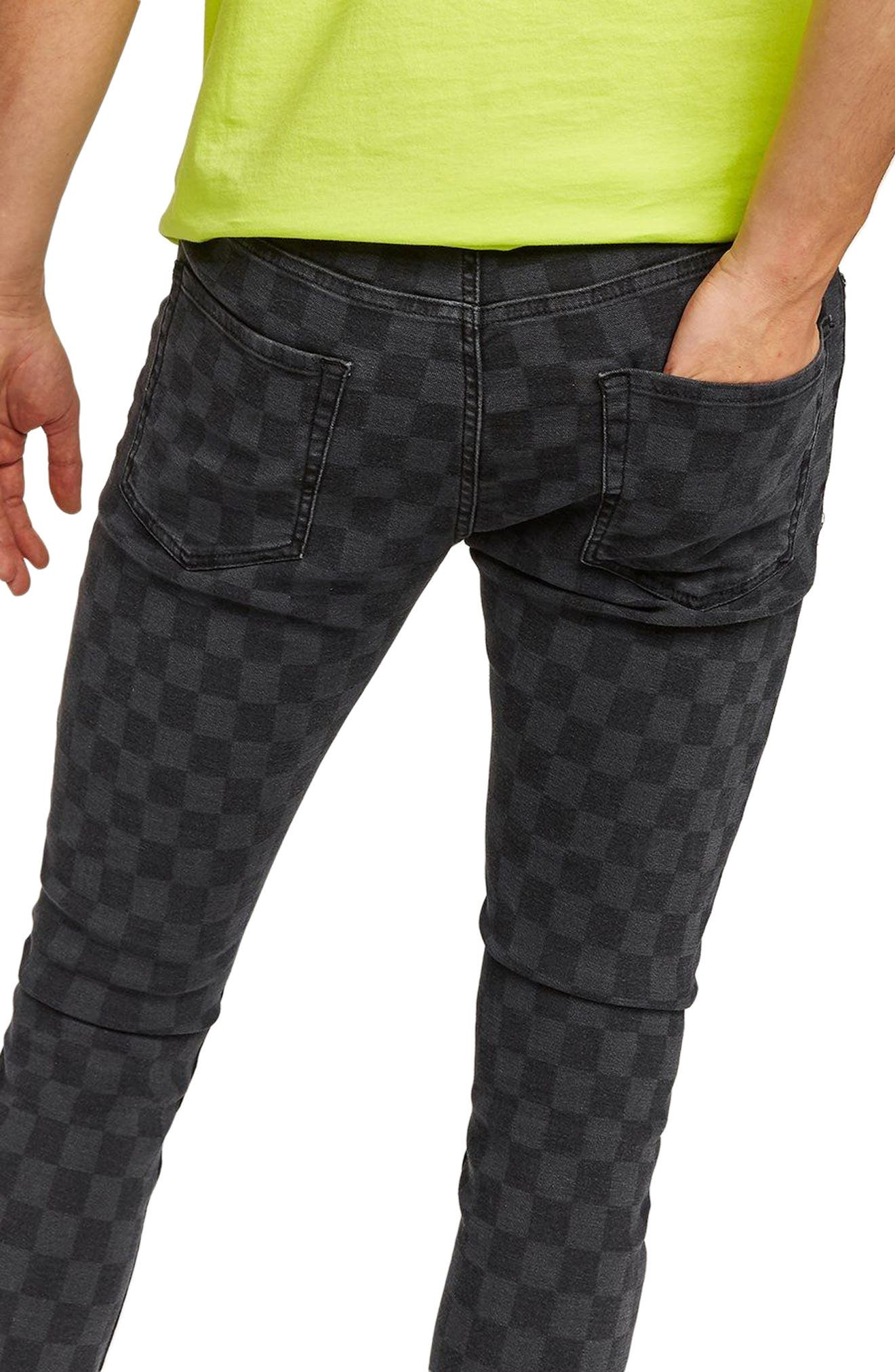 Check Stretch Skinny Fit Pants,                             Alternate thumbnail 3, color,                             BLACK MULTI
