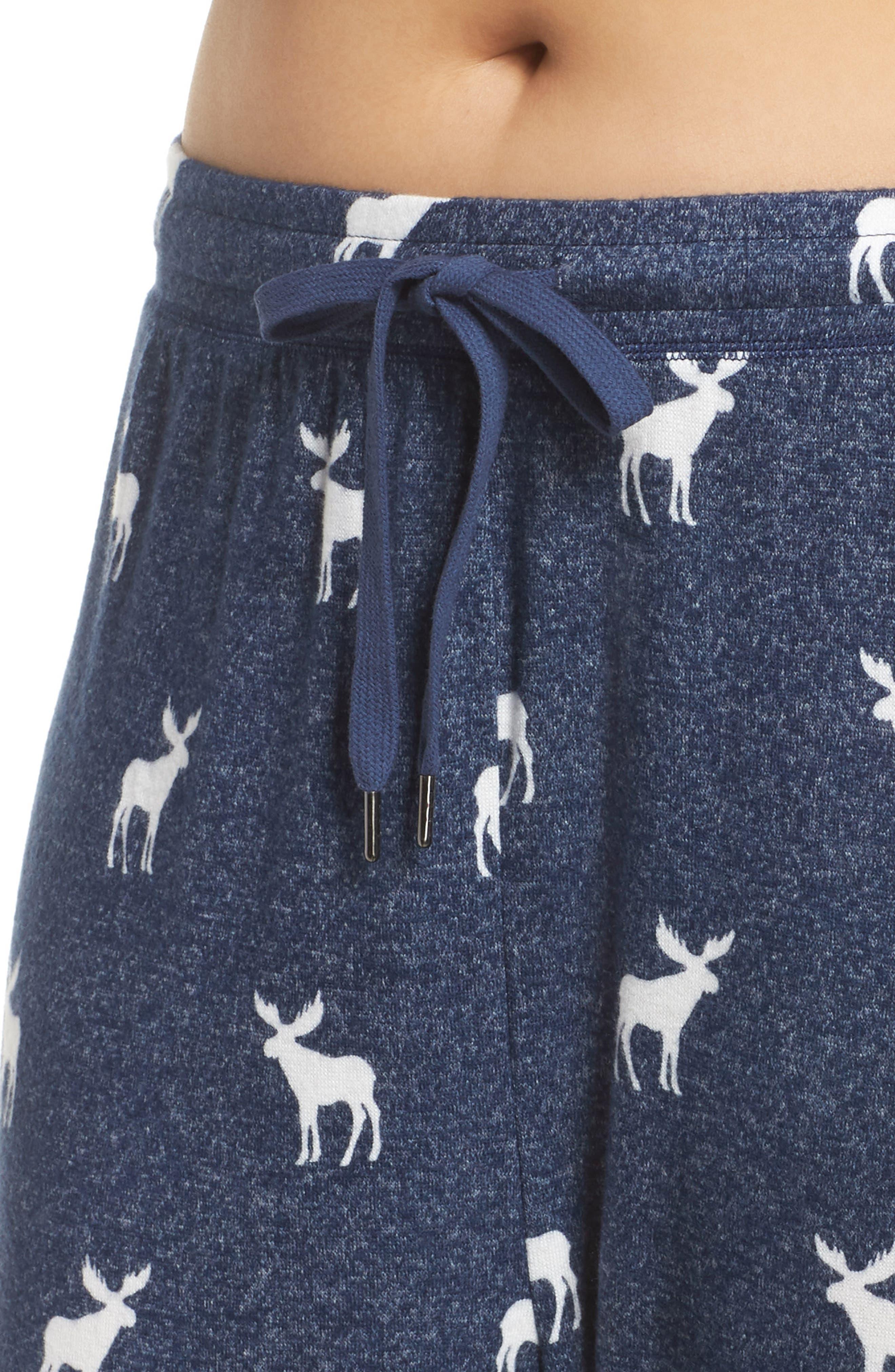 Moose Print Banded Pajama Pants,                             Alternate thumbnail 4, color,                             NAVY