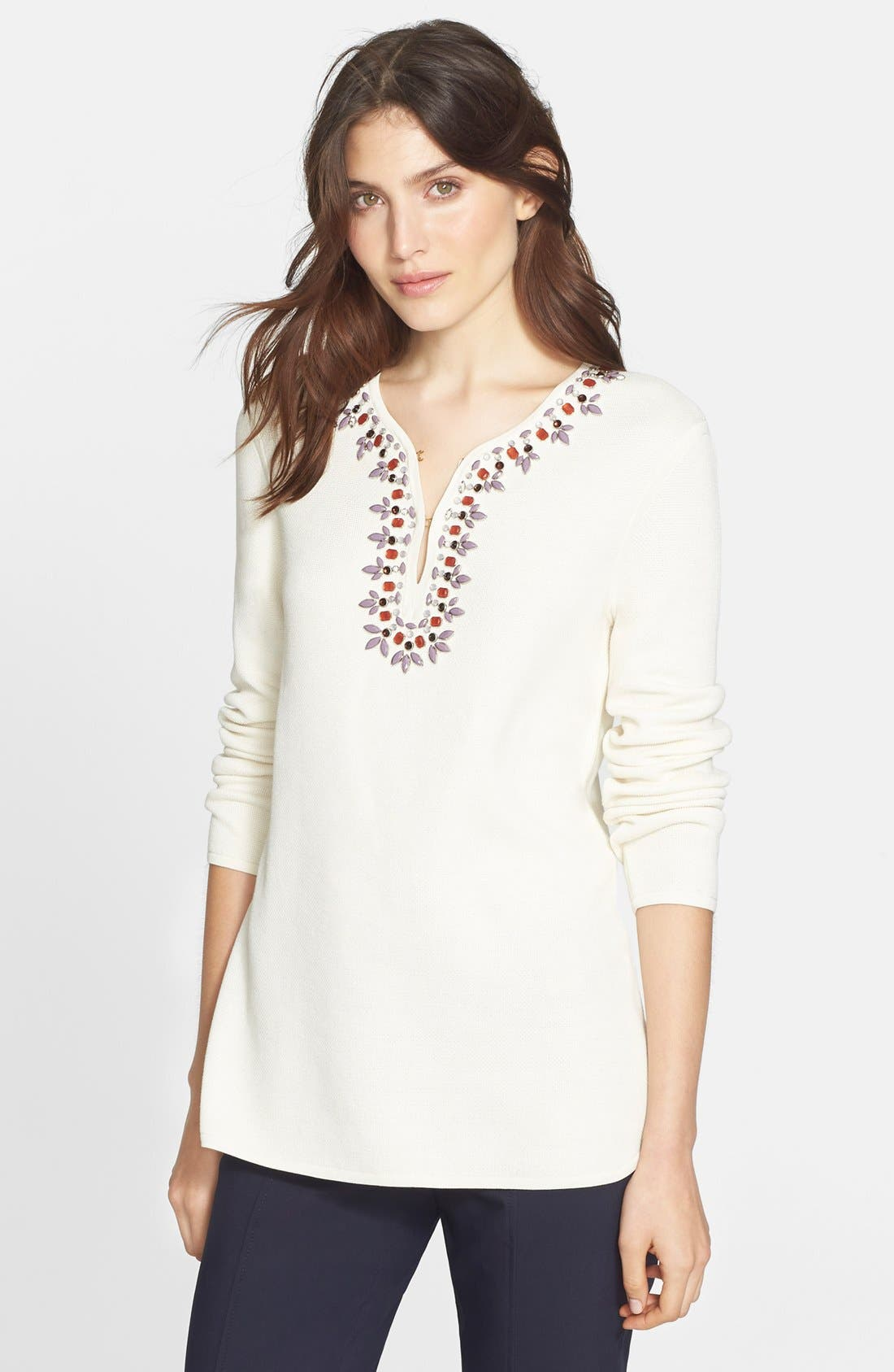 TORY BURCH,                             Embellished Tunic,                             Alternate thumbnail 6, color,                             907