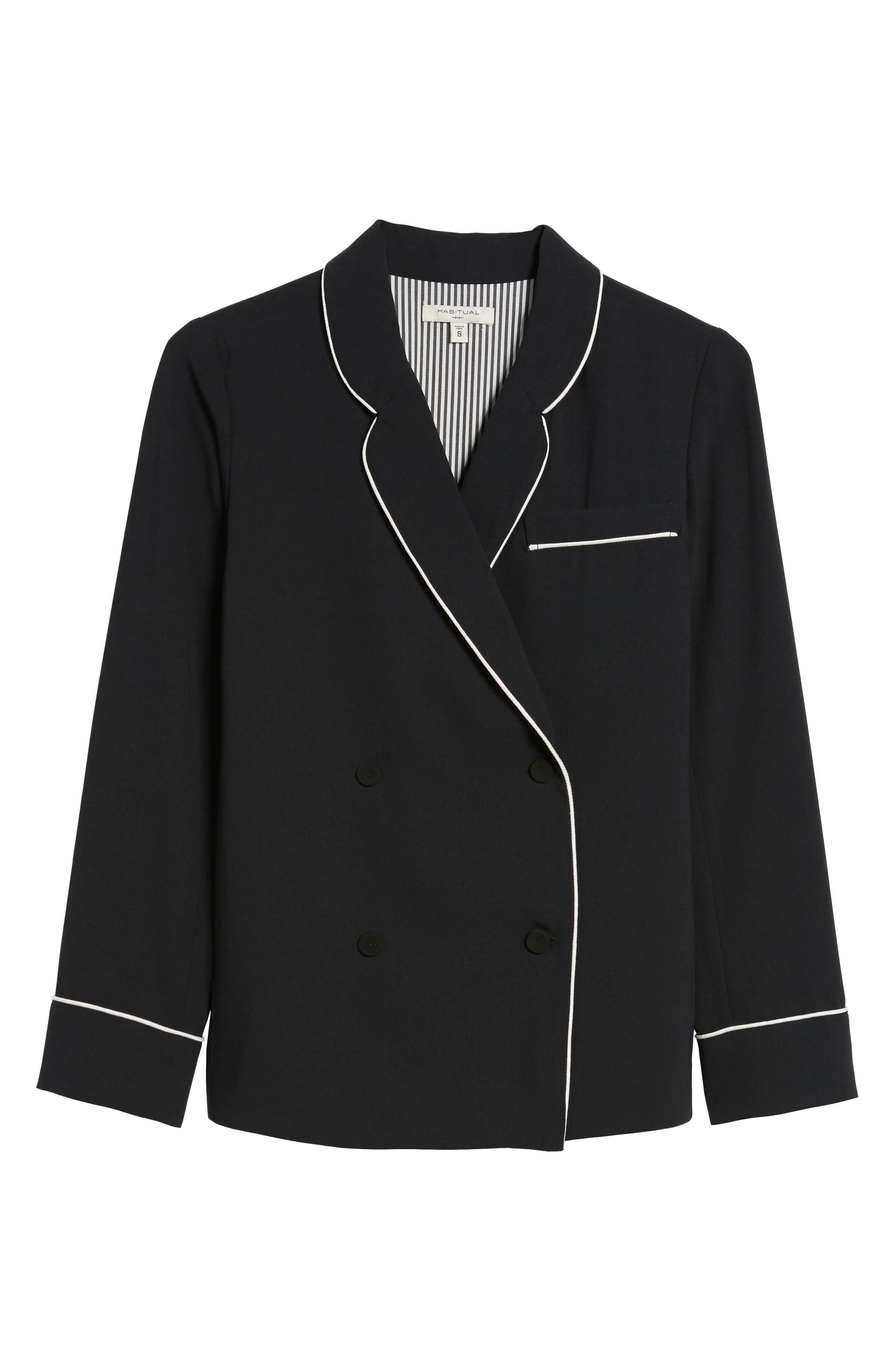 Double Breasted Jacket,                             Alternate thumbnail 5, color,                             BLACK/ BRIGHT WHITE PIPING