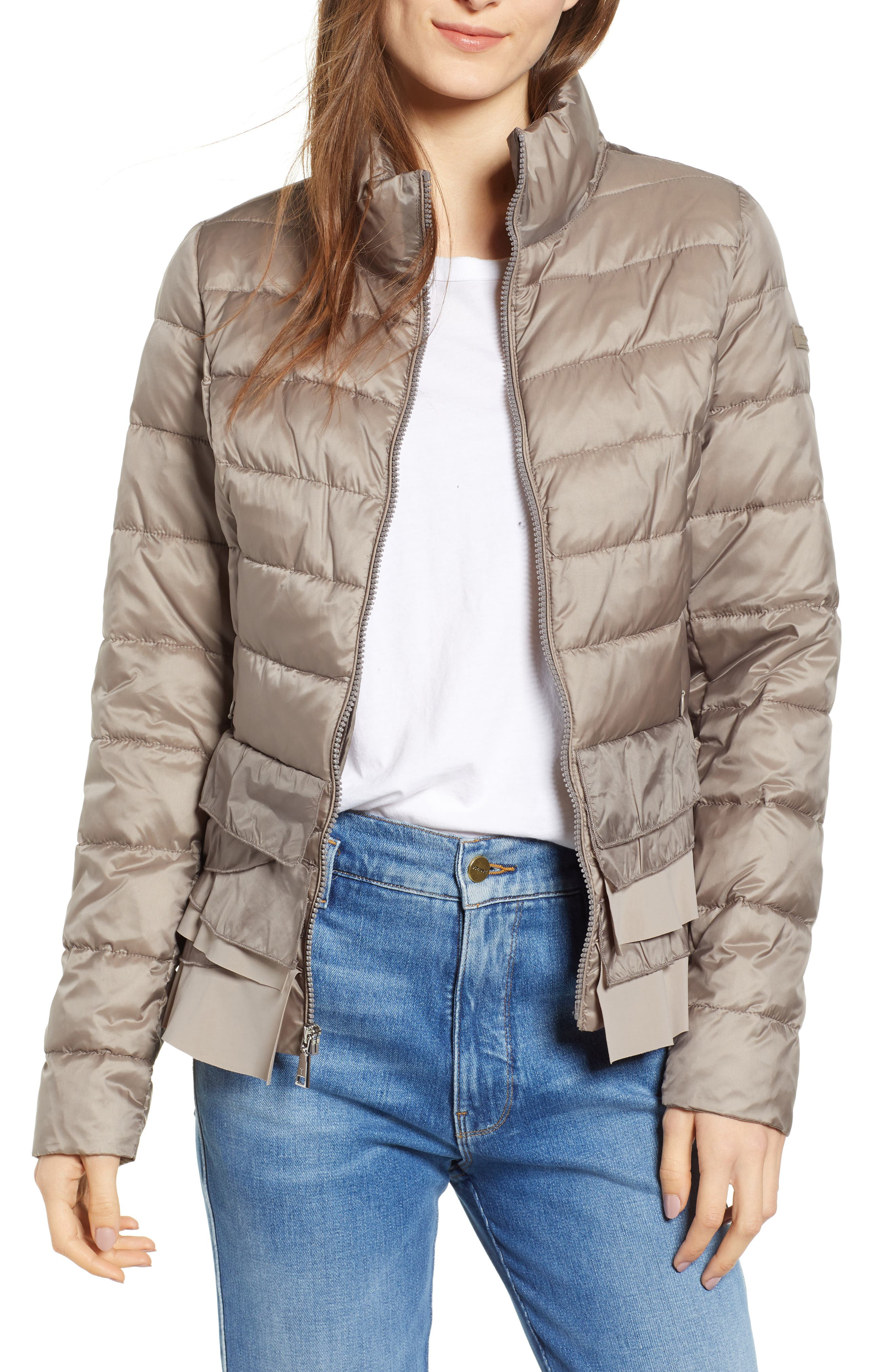 Zoey Ruffle Hem Puffer Jacket,                         Main,                         color, TRUFFLE