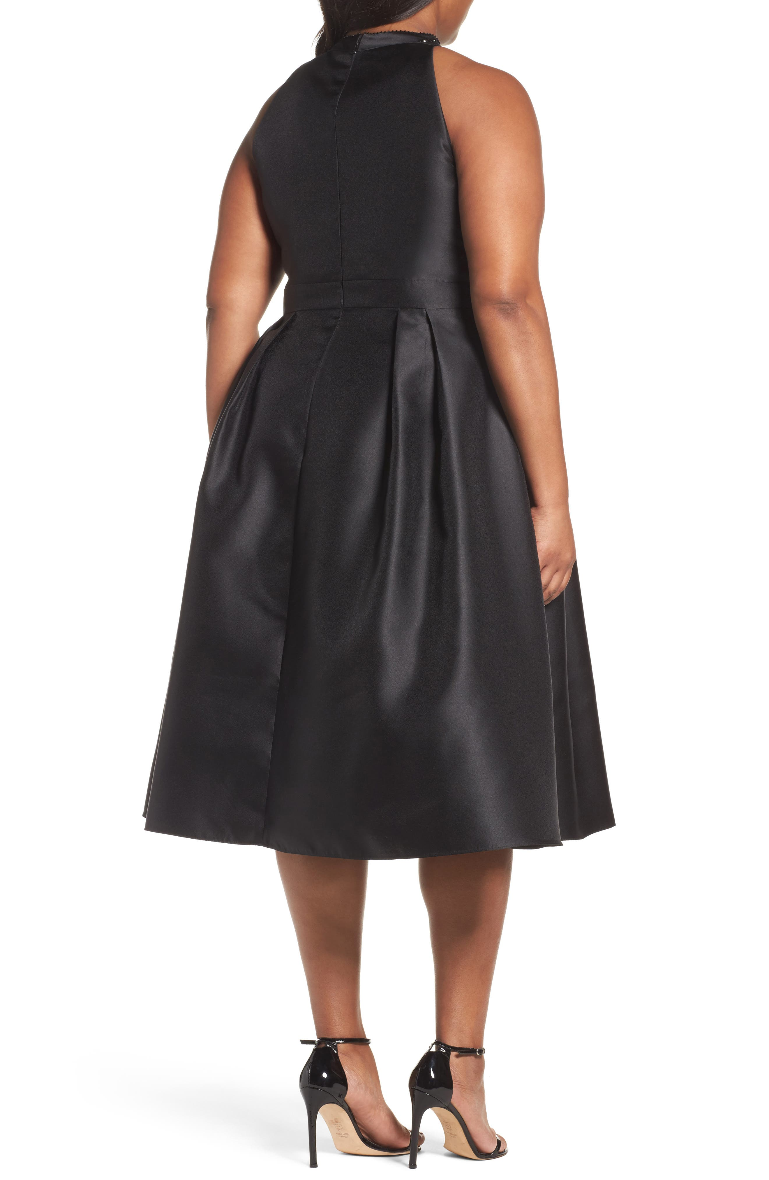 Adriana Papell Beaded Fit & Flare Dress,                             Alternate thumbnail 2, color,                             002