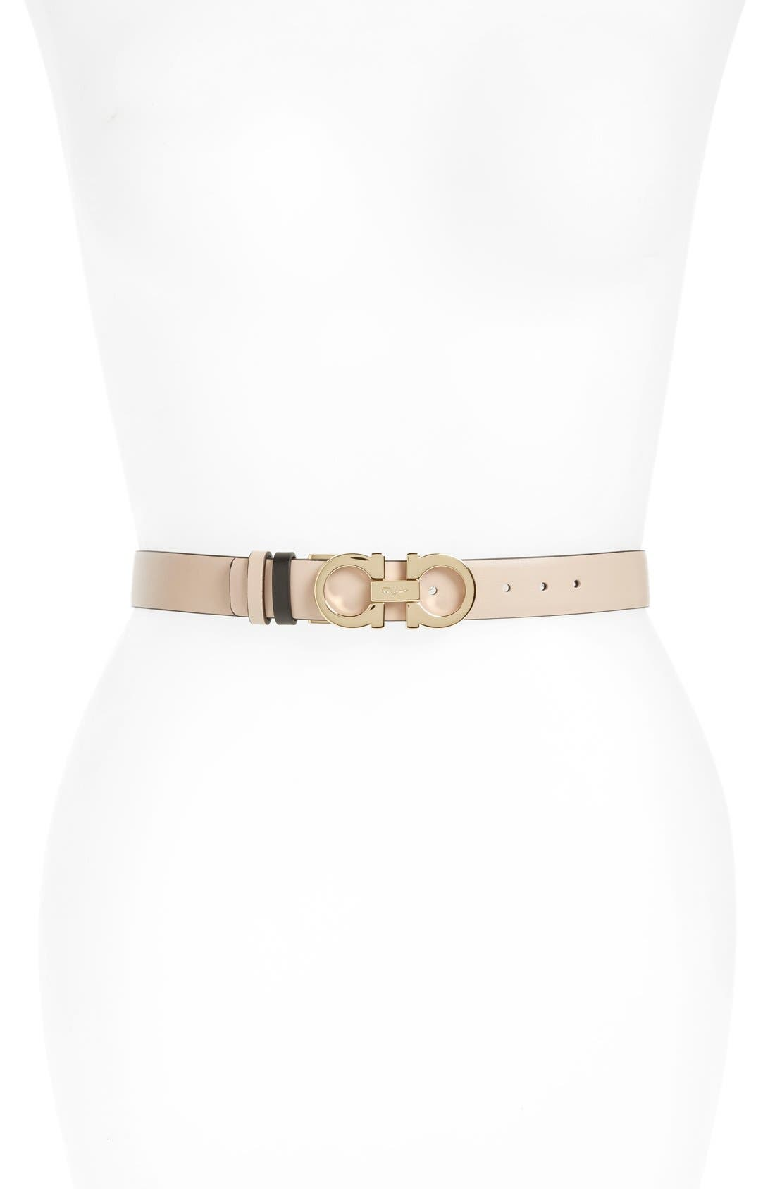 Reversible Leather Belt,                             Main thumbnail 1, color,                             NEW BISQUE/ NERO