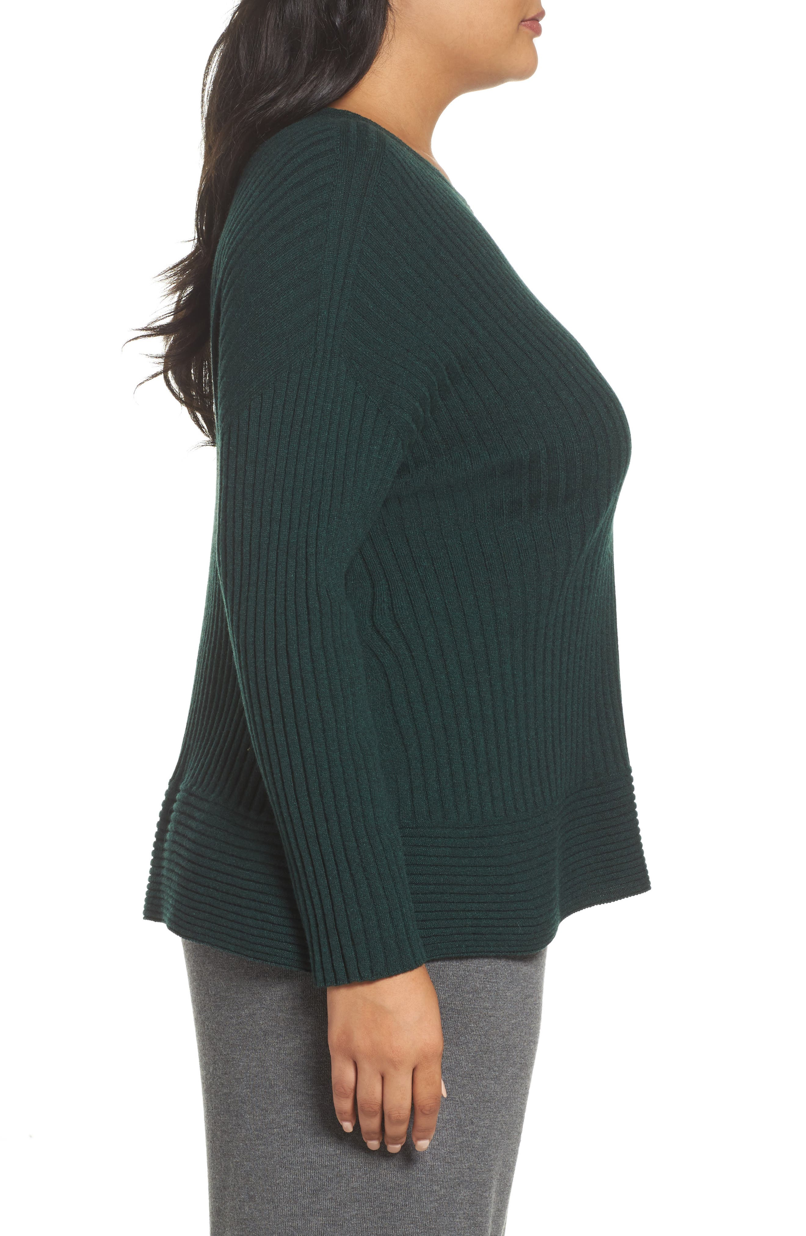 Ribbed Cashmere Sweater,                             Alternate thumbnail 3, color,                             390
