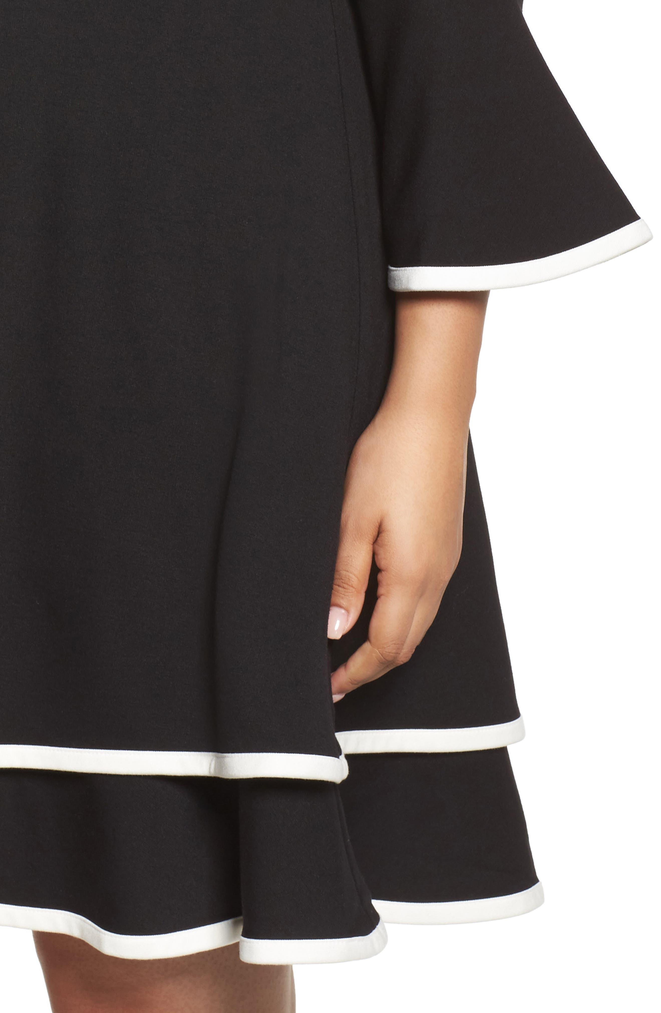 Bell Sleeve Contrast Trim Fit & Flare Dress,                             Alternate thumbnail 4, color,                             BLACK/ IVORY