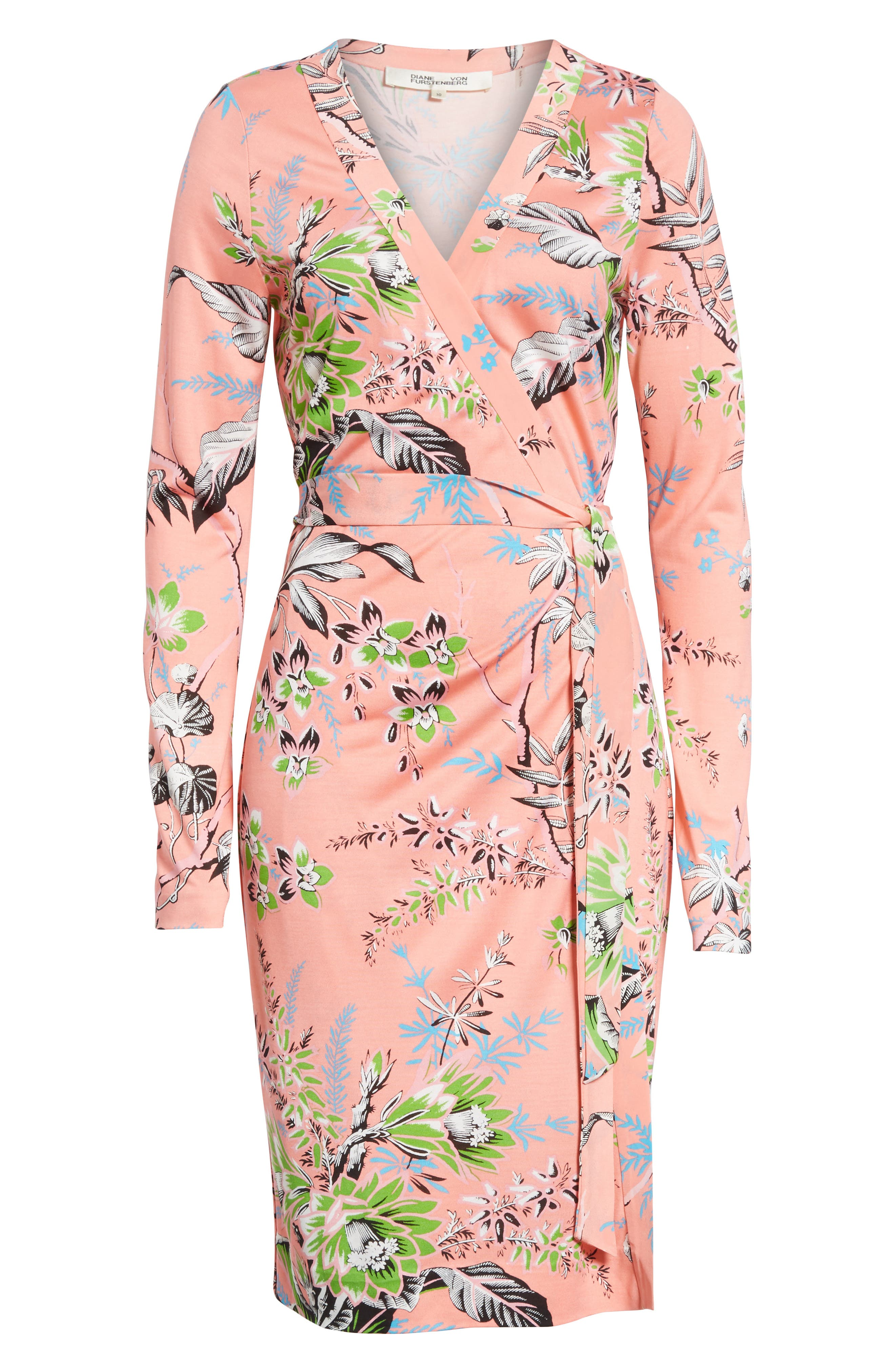 Julian Floral Silk Wrap Dress,                             Alternate thumbnail 6, color,