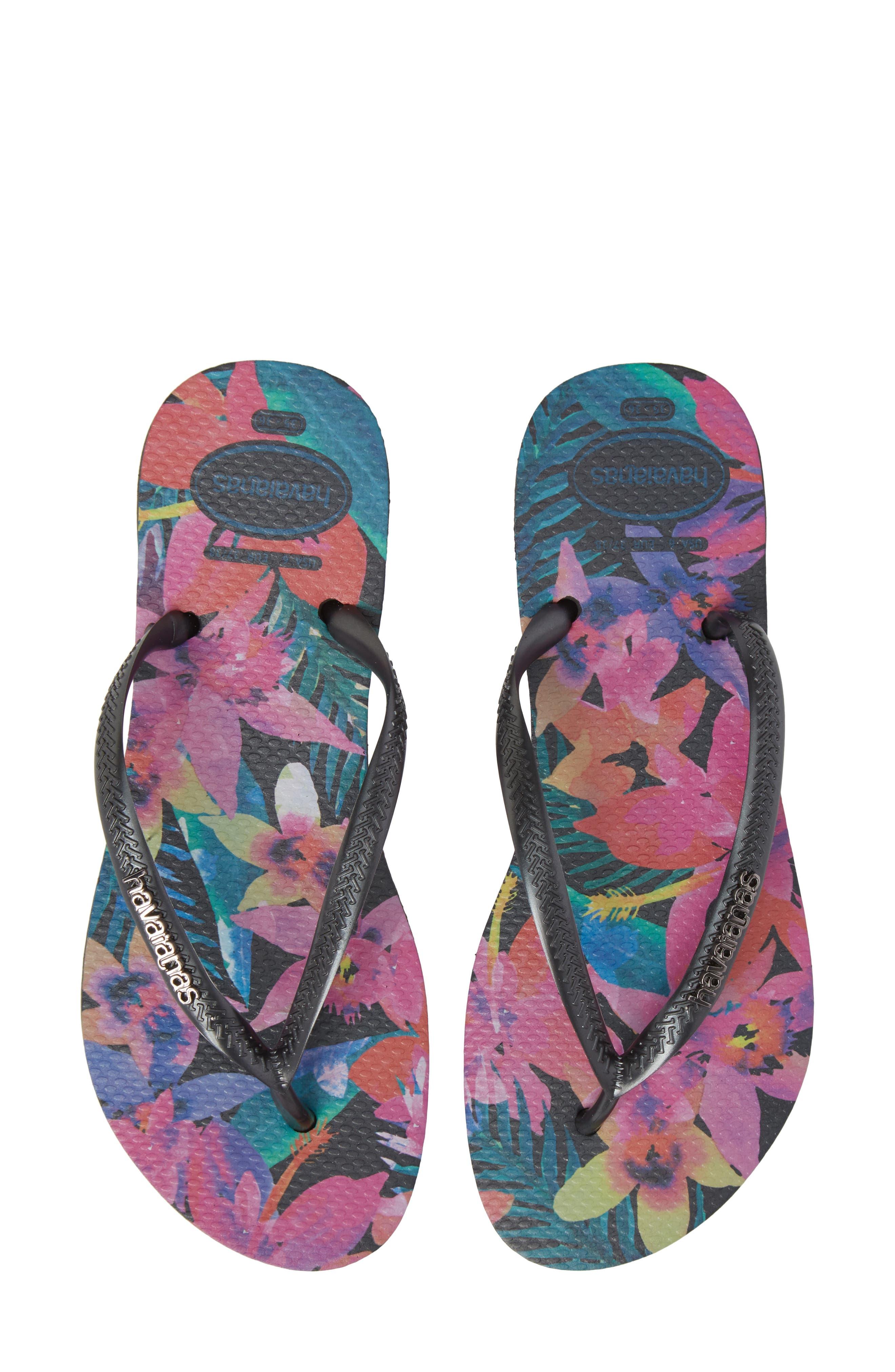 'Slim Tropical' Flip Flop,                         Main,                         color, BLACK