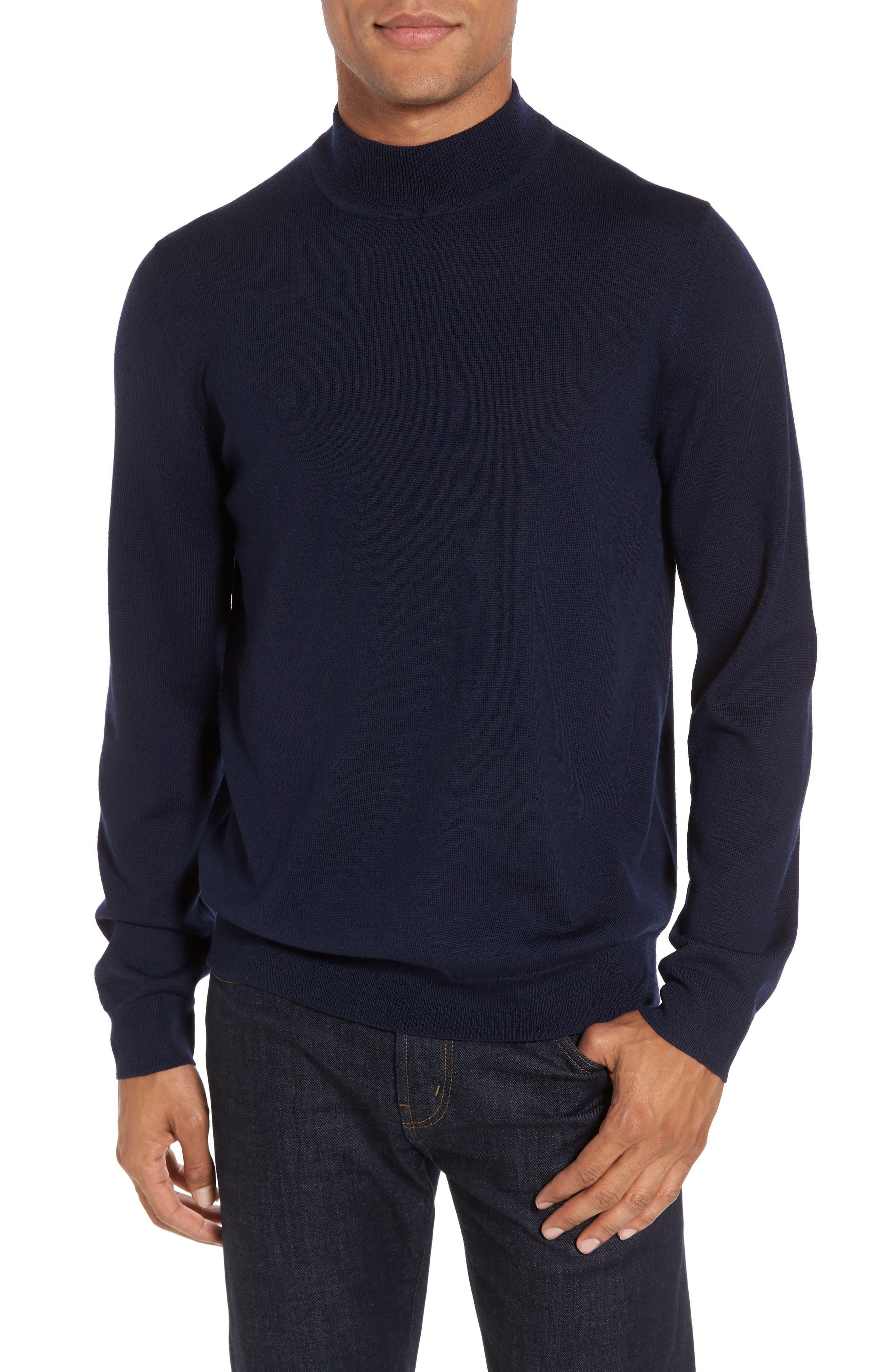 Nordstrom Shop Mock Neck Merino Wool Sweater, Blue