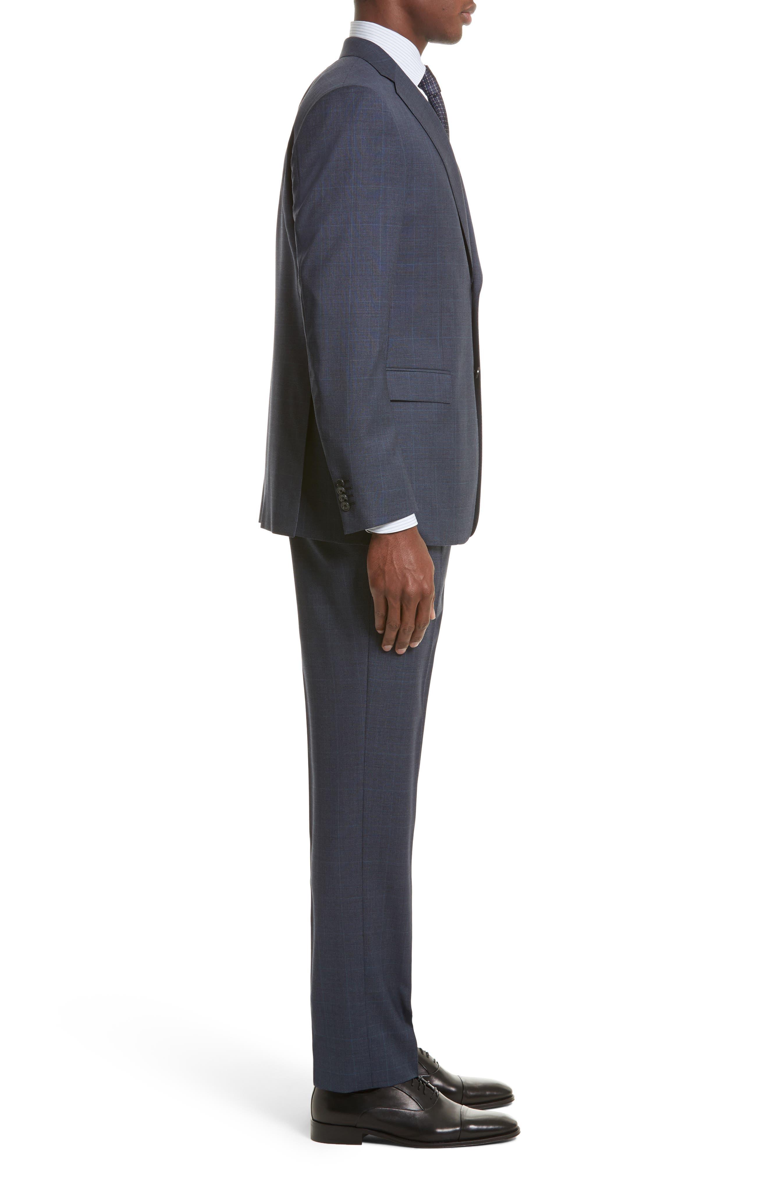 Drop 7 Trim Fit Plaid Wool Suit,                             Alternate thumbnail 3, color,                             416