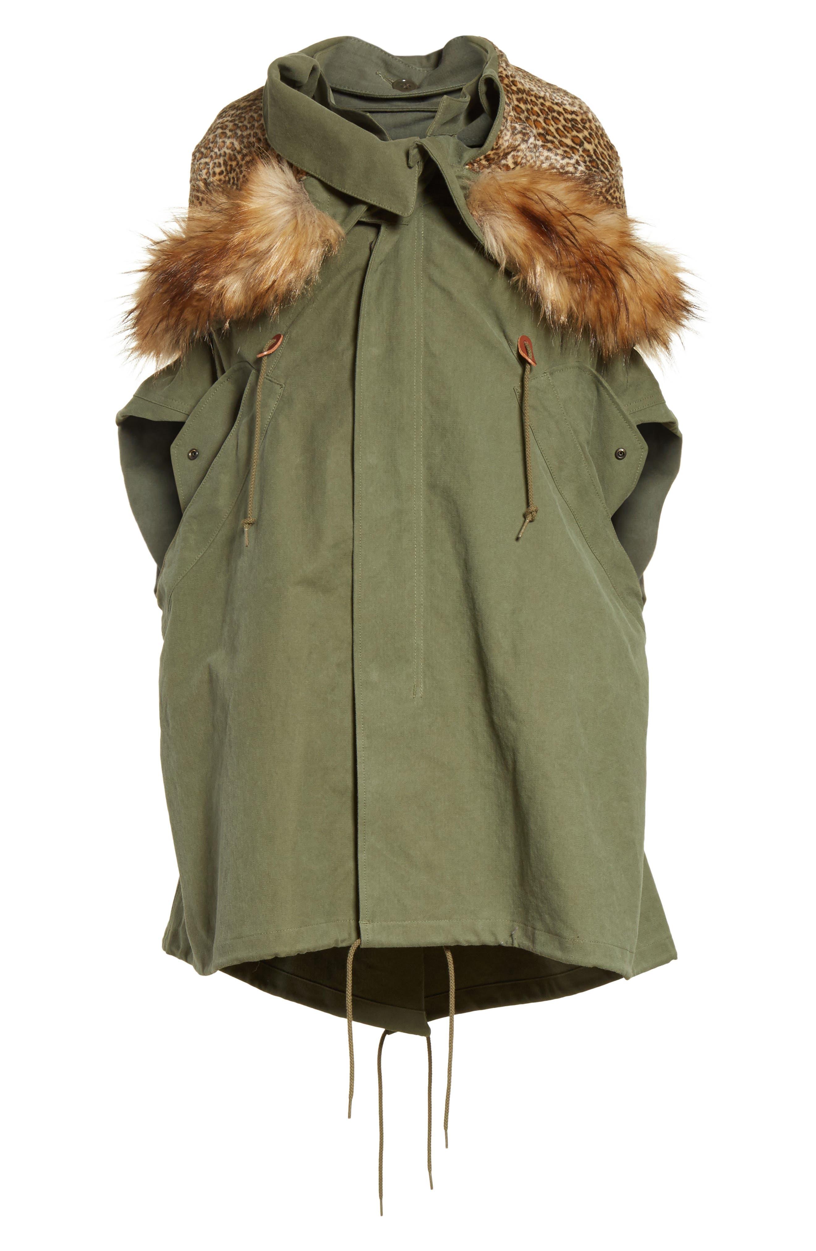 Army Coat with Cheetah Faux Fur Hood,                             Alternate thumbnail 5, color,                             340