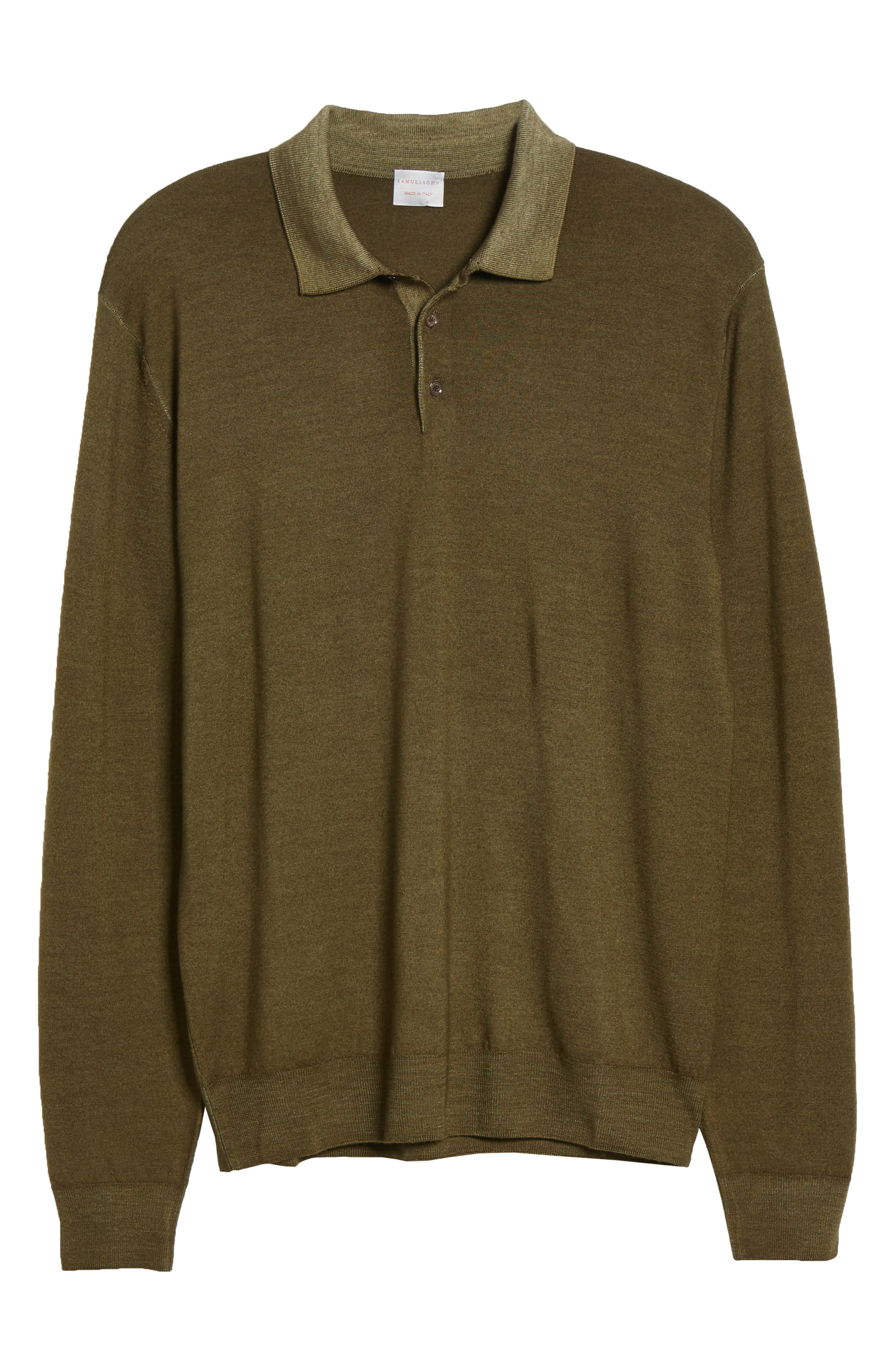Dustin Wool Polo Sweater,                             Alternate thumbnail 6, color,                             GREEN