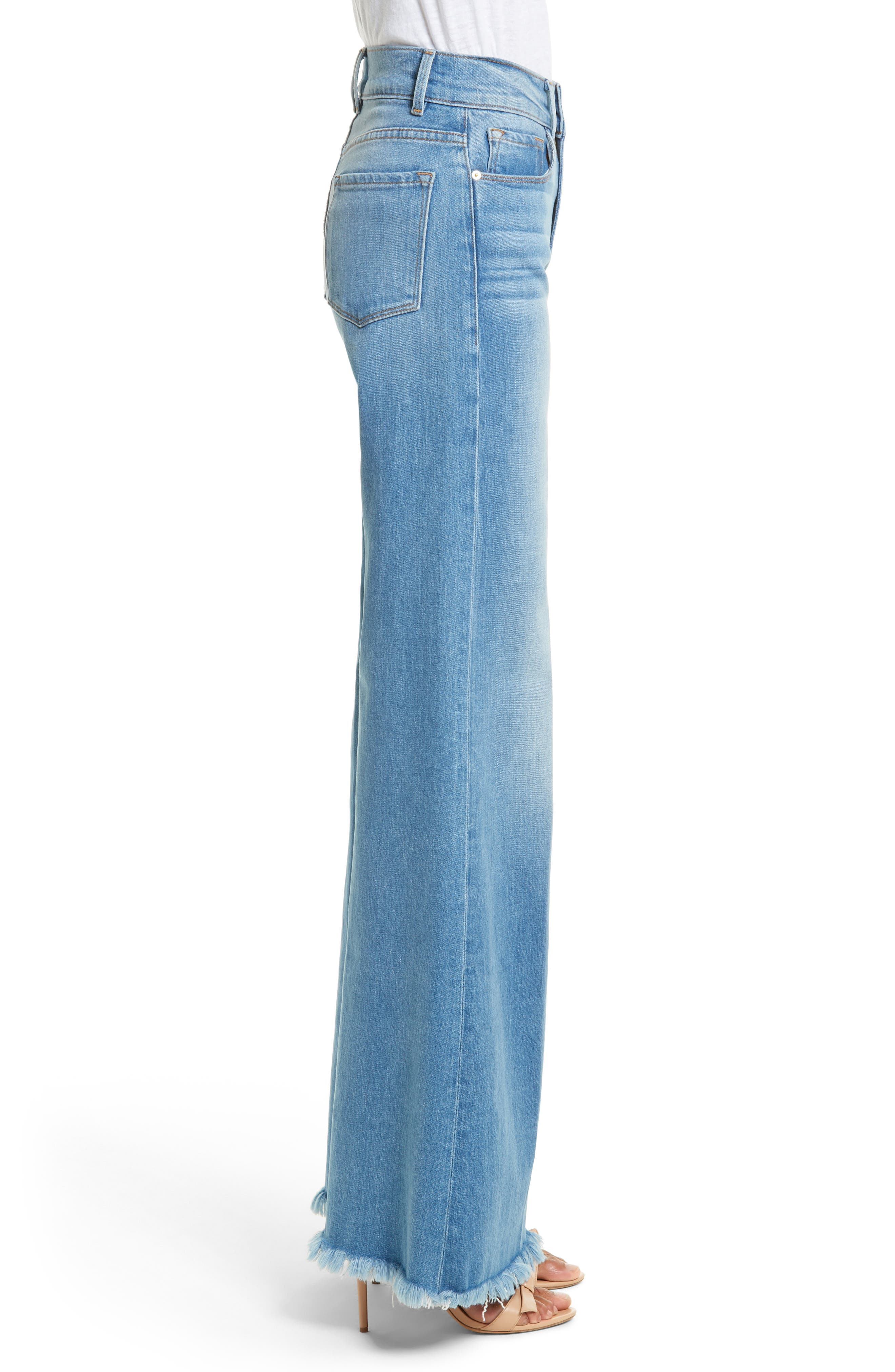 Le Palazzo High Waist Raw Edge Jeans,                             Alternate thumbnail 3, color,
