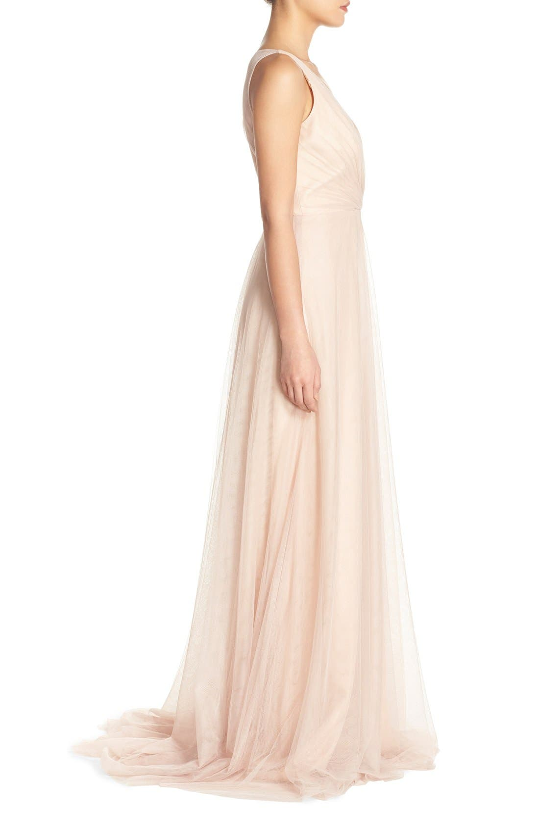 Back Cutout Pleat Tulle Gown,                             Alternate thumbnail 16, color,