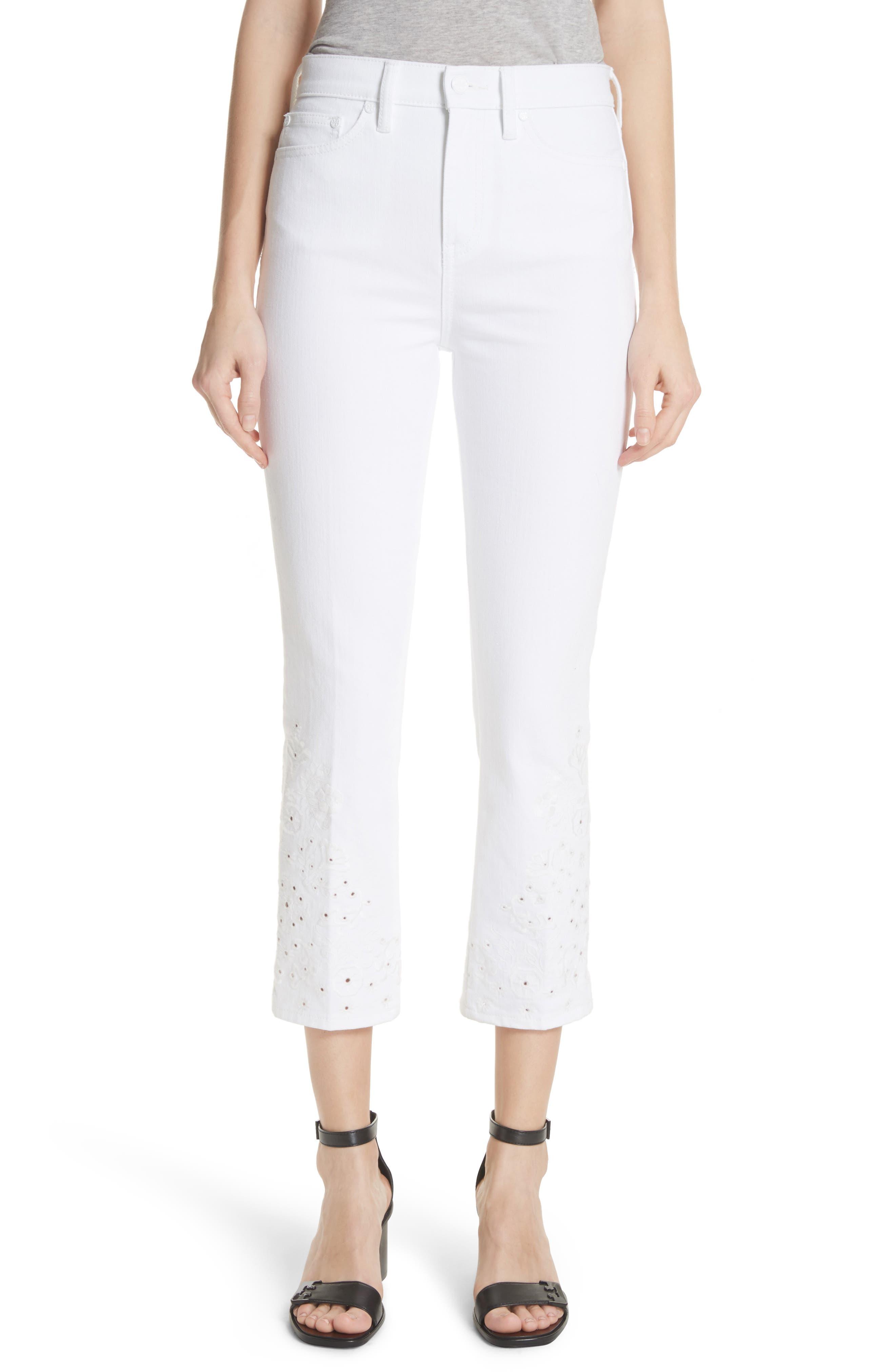 Keira Eyelet Hem Crop Jeans,                         Main,                         color, 100