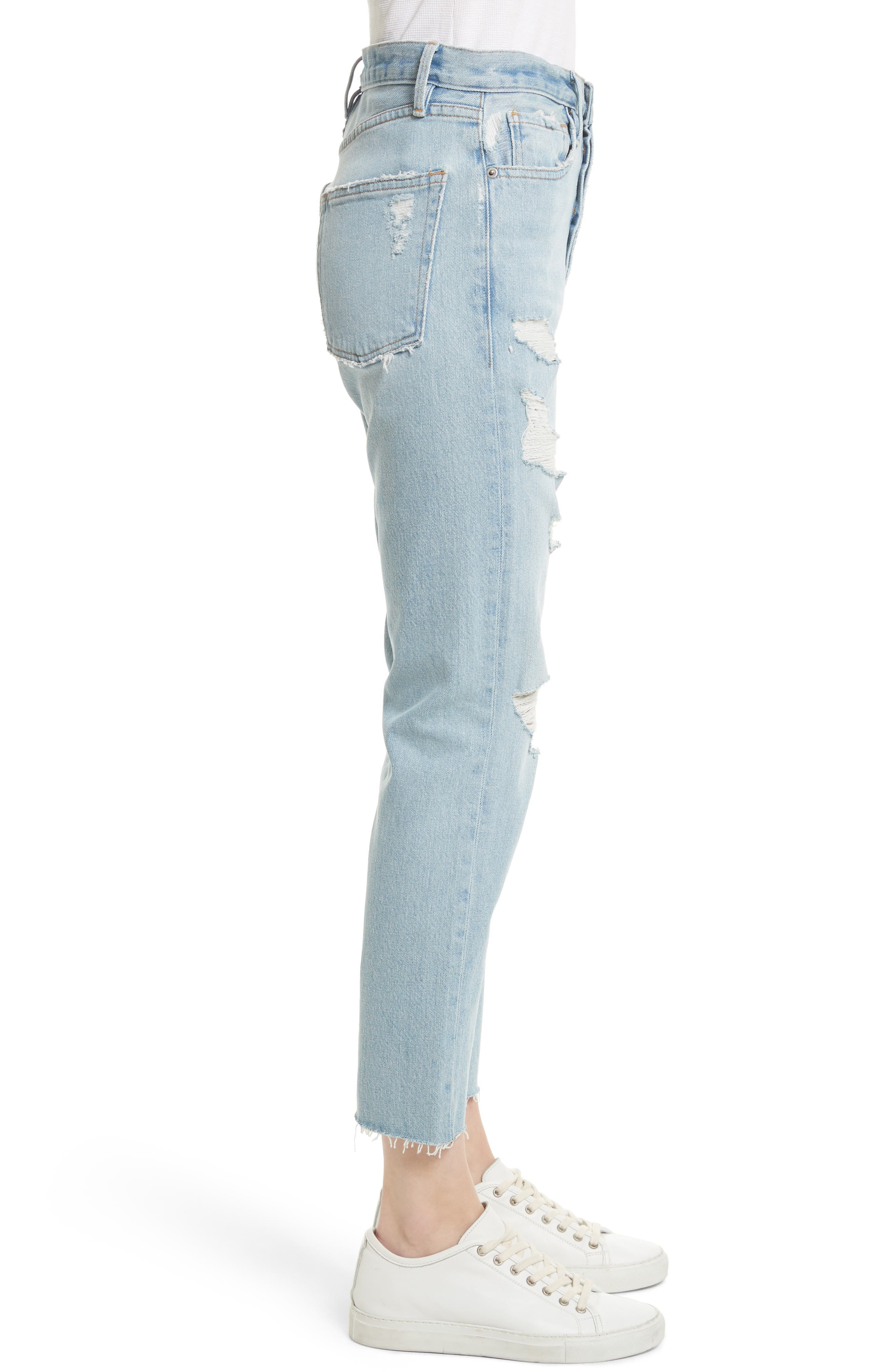 Le Original Raw Edge High Waist Jeans,                             Alternate thumbnail 3, color,                             450