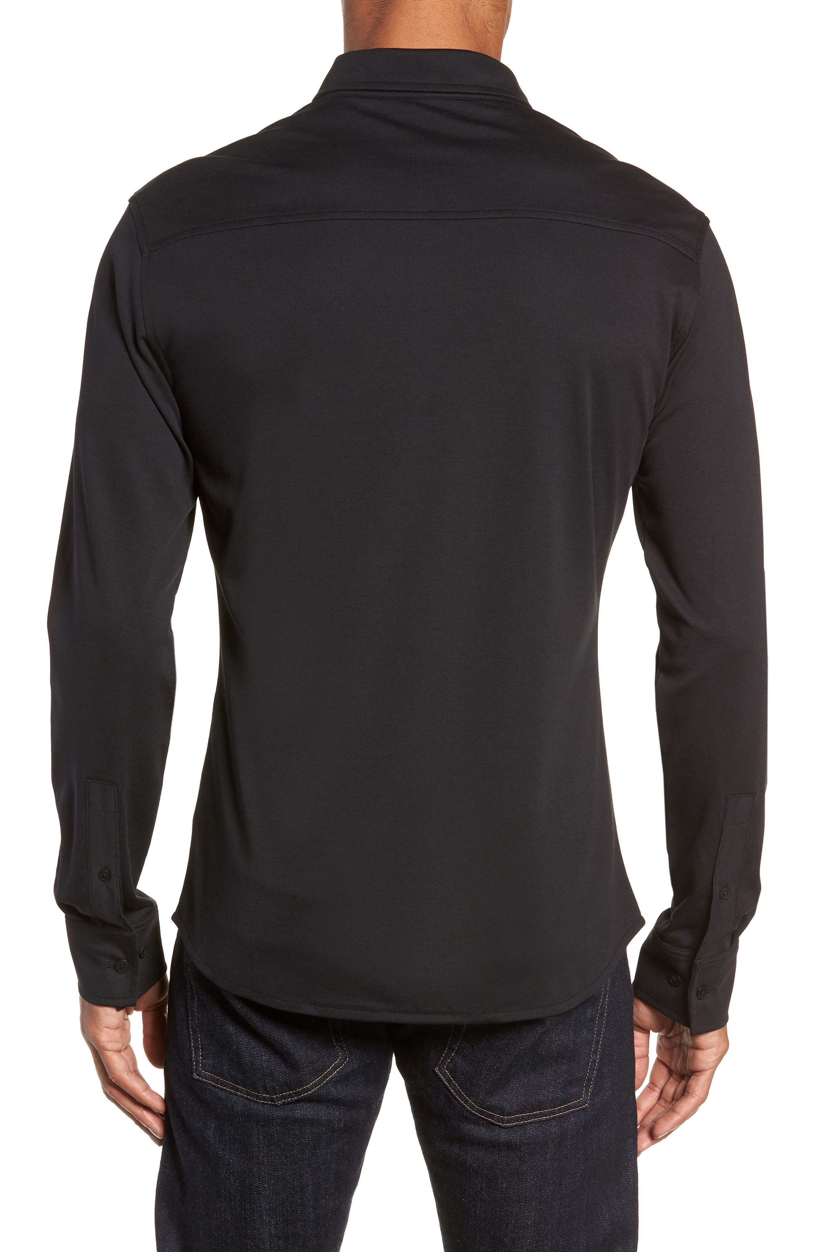 Slim Fit Button Down Collar Sport Shirt,                             Alternate thumbnail 3, color,                             BLACK