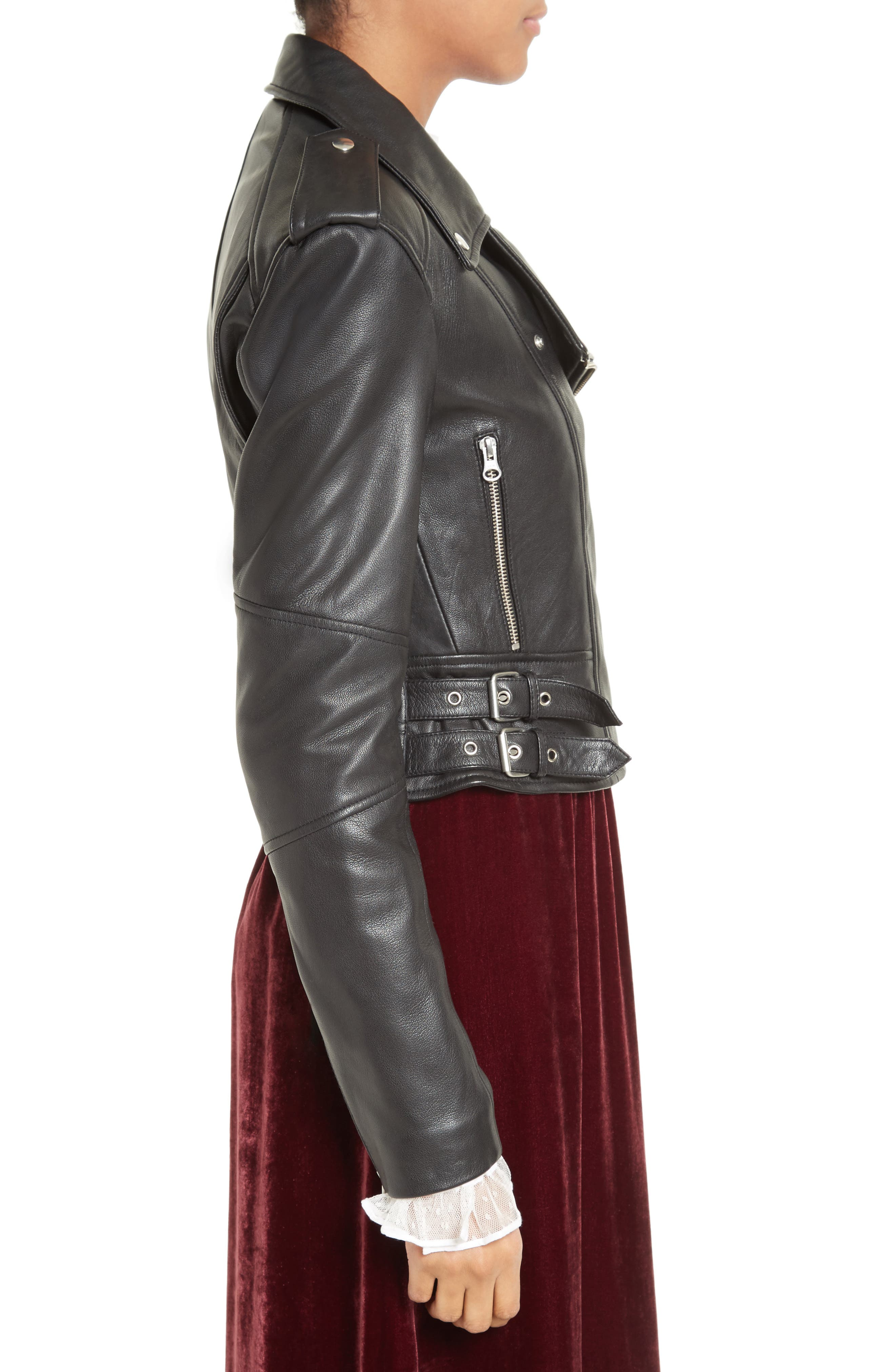 Lace-Up Leather Jacket,                             Alternate thumbnail 3, color,                             001