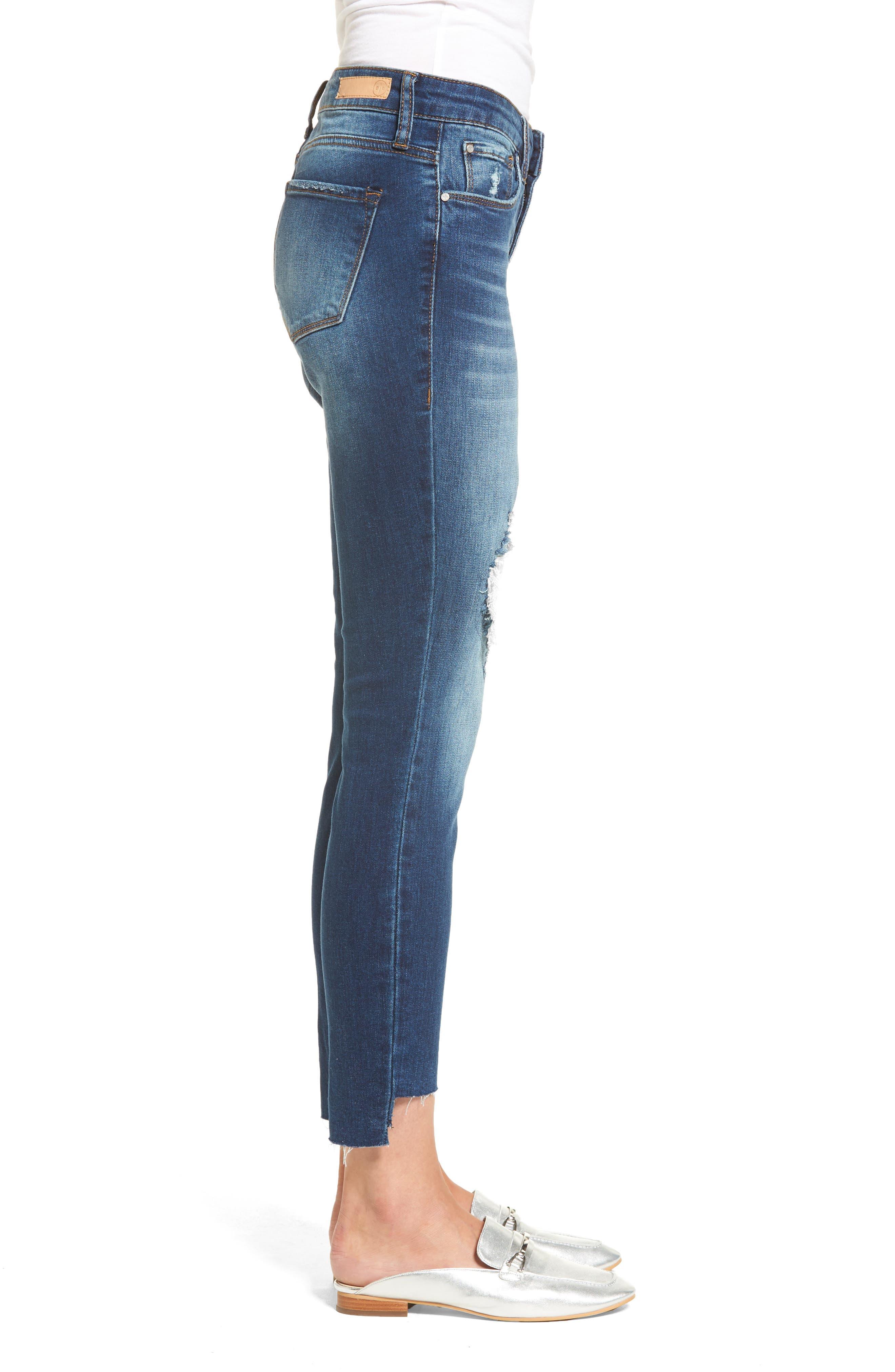 Ripped Step Hem Skinny Jeans,                             Alternate thumbnail 3, color,                             420