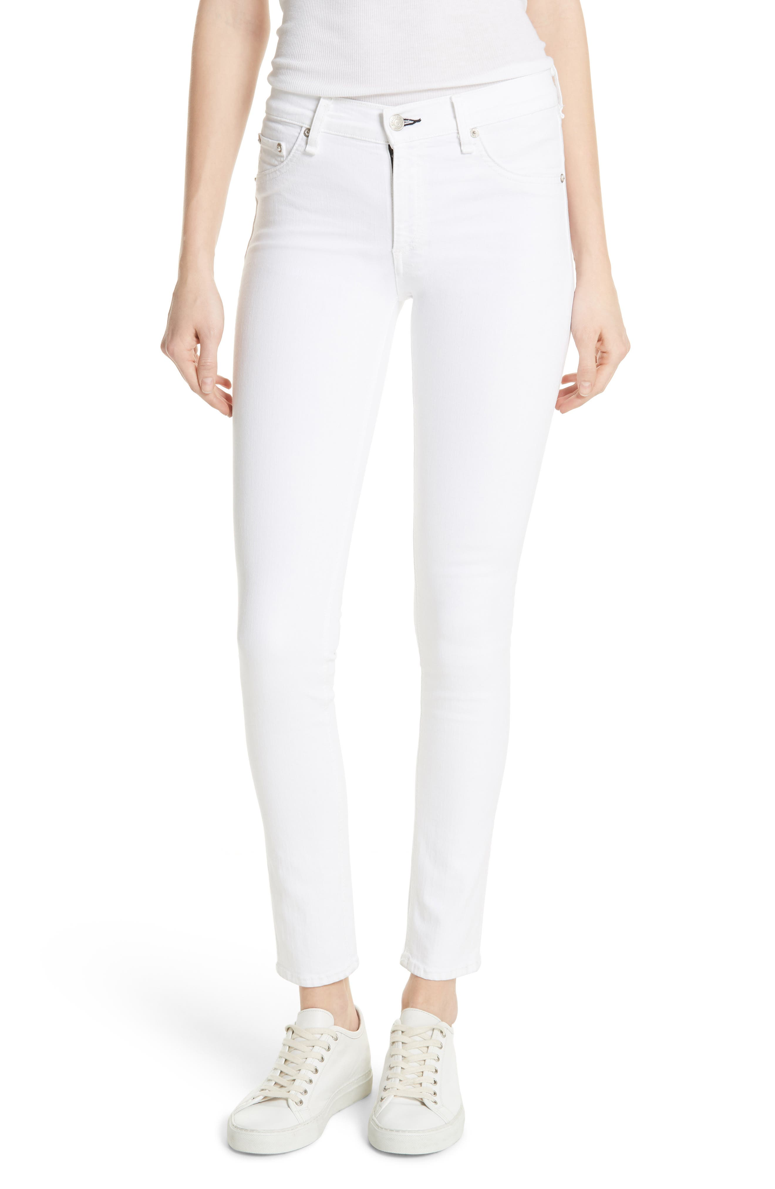 Skinny Jeans,                         Main,                         color, BLANC